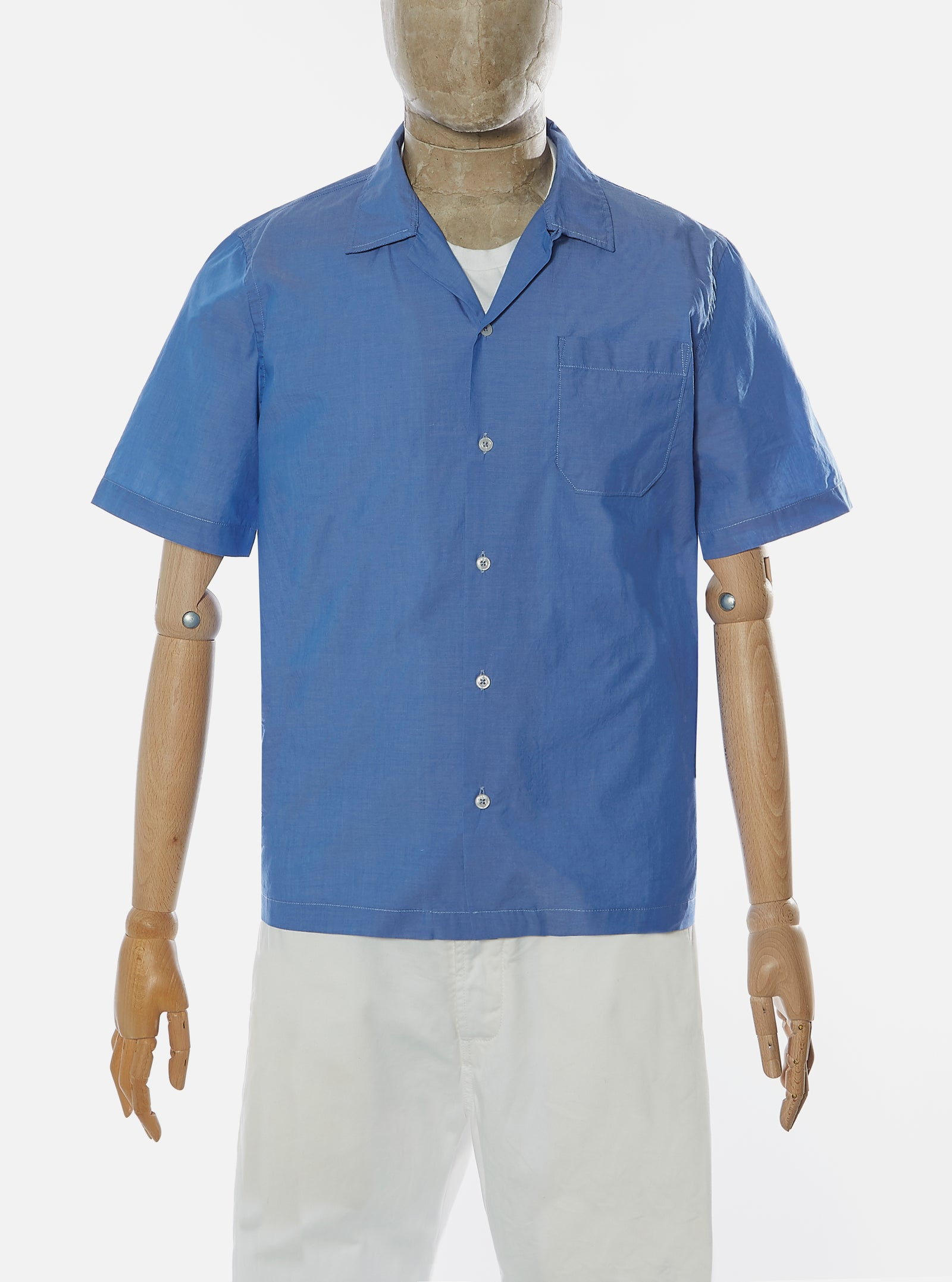 Universal Works Road Shirt in Light Indigo Fine Chambray