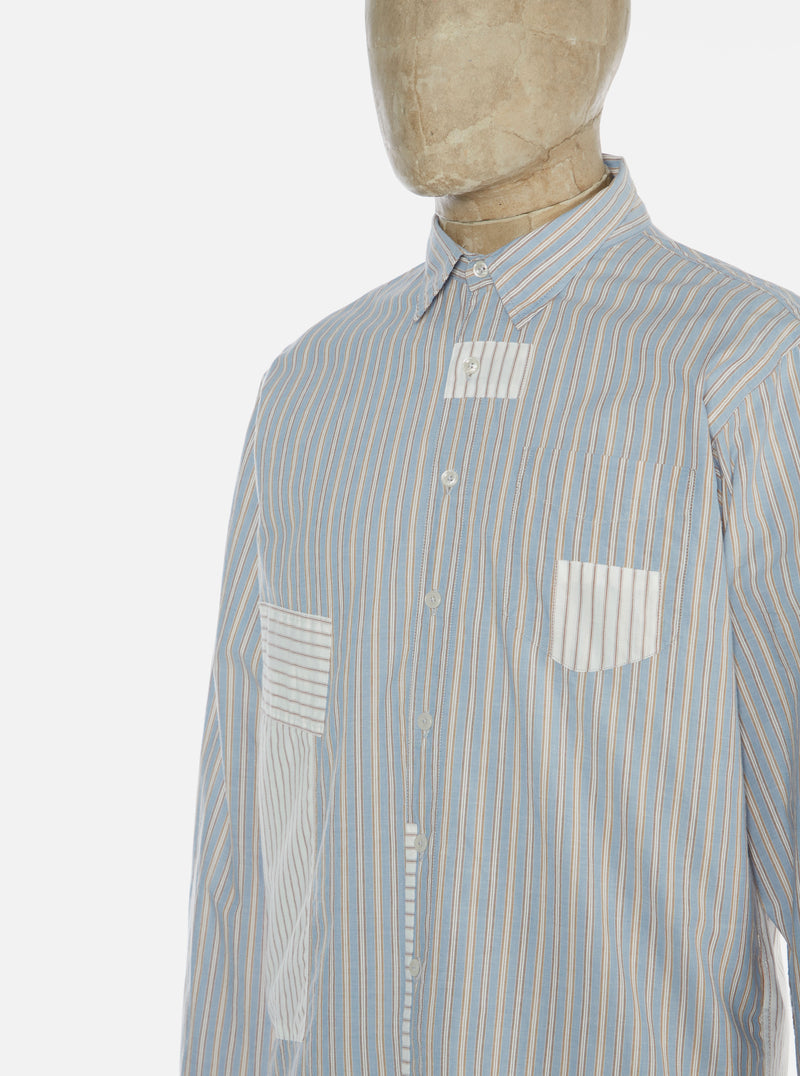 Universal Works Patched Shirt in Blue/Ecru Chelsea Stripe Mix