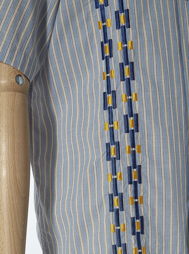 Universal Works Road Shirt in Blue Chelsea Stripe
