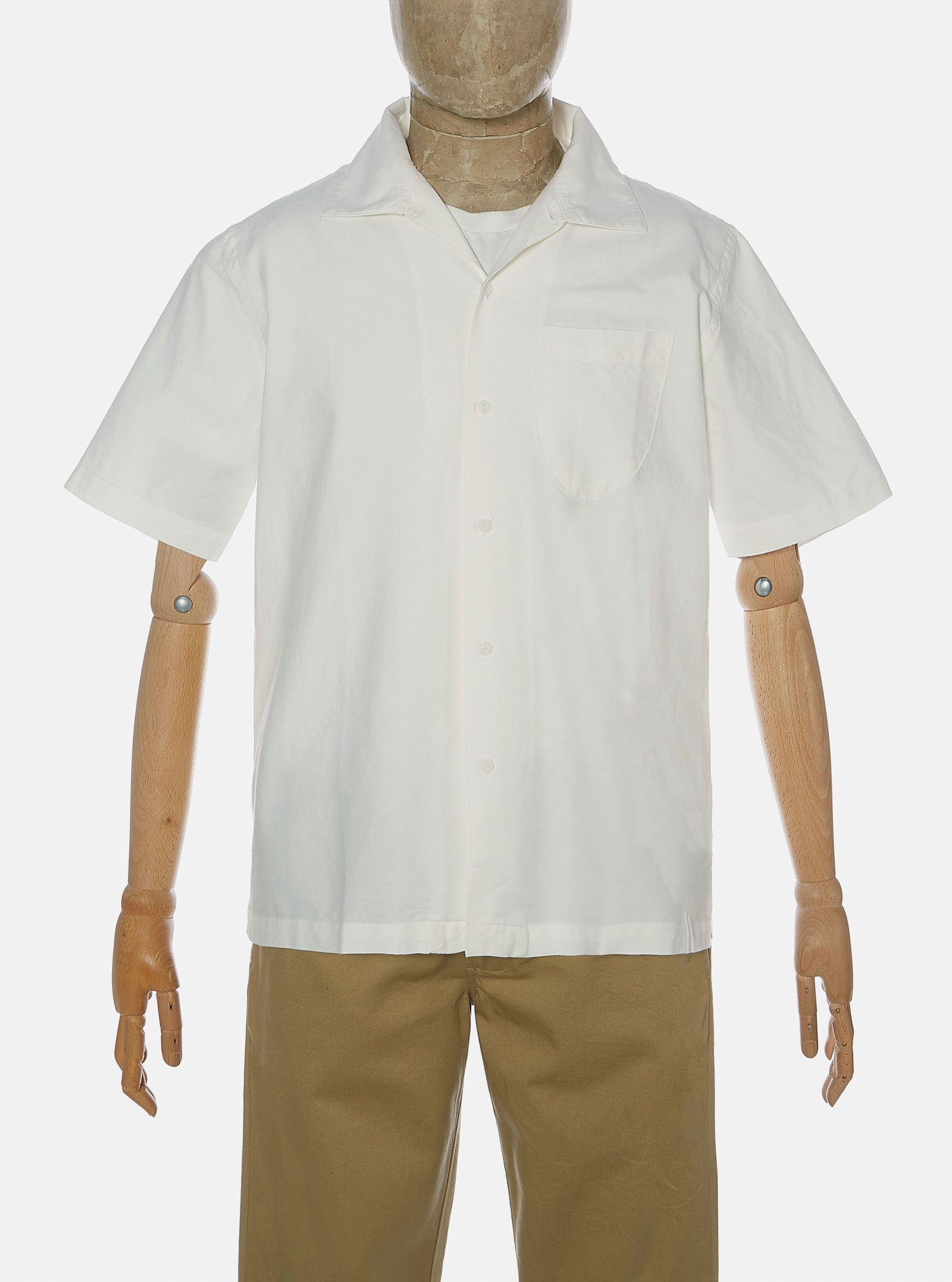 Universal Works Open Collar Shirt in Ecru Oxford