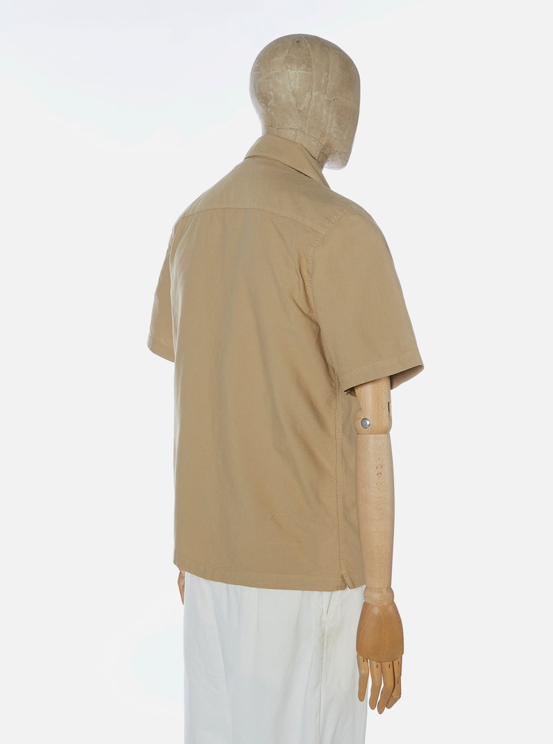 Universal Works Open Collar Shirt in Sand Oxford