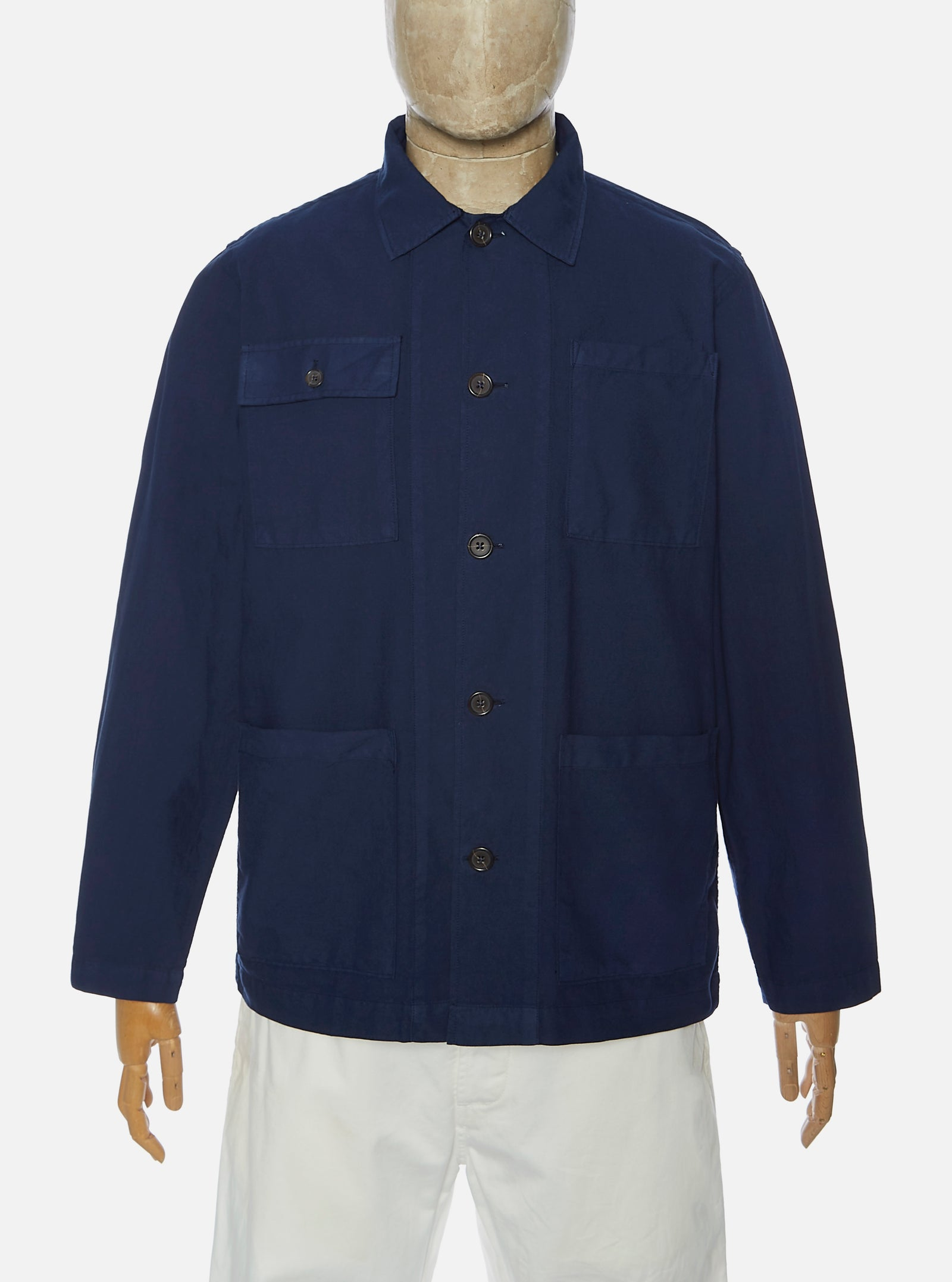 Universal Works Dockside Overshirt in Navy Oxford