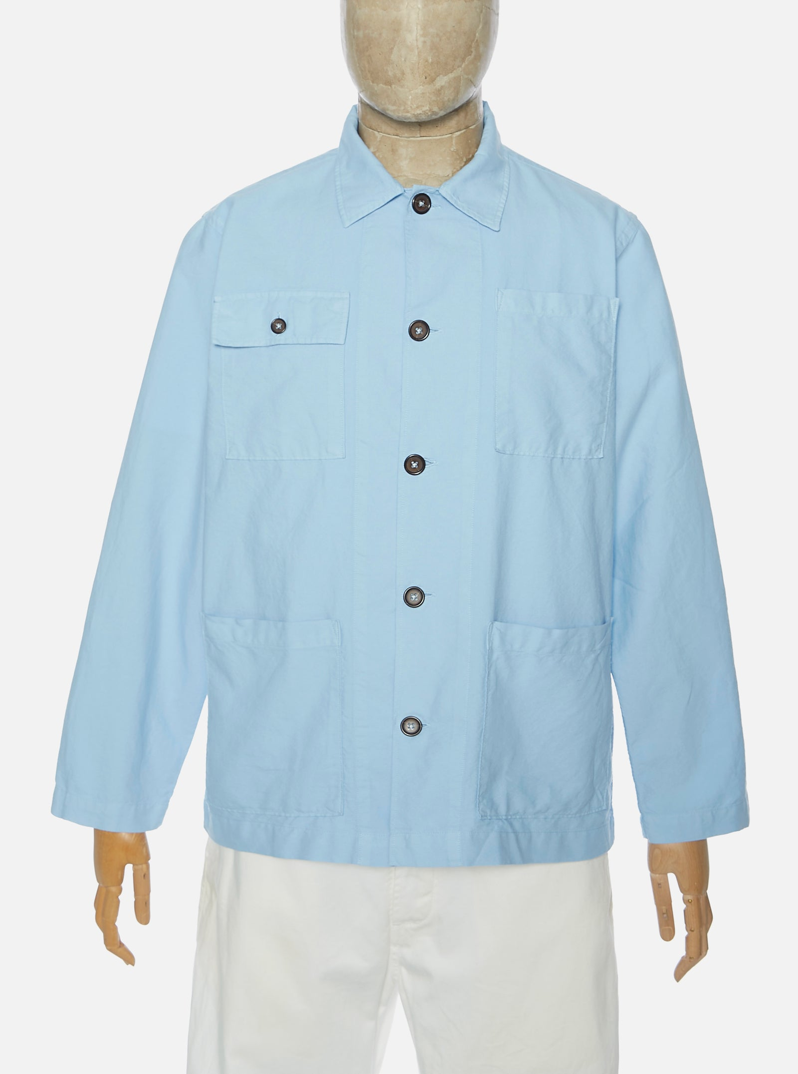 Universal Works Dockside Overshirt in Sky Blue Oxford