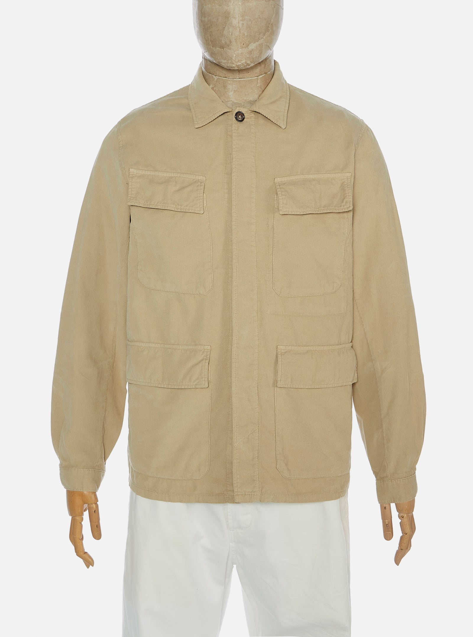Universal Works MW Fatigue Jacket in Stone Needle Cord