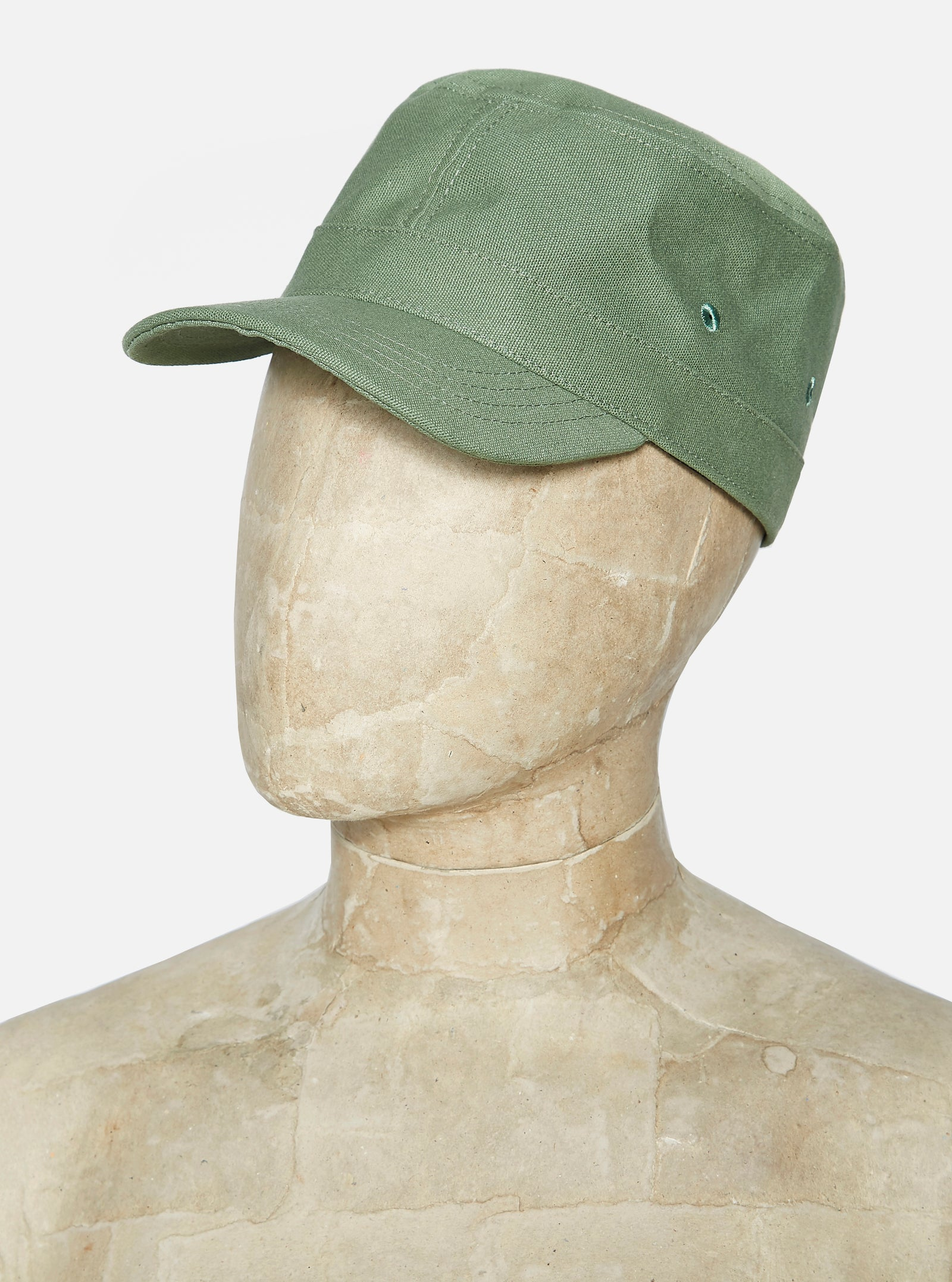 Universal Works Field Cap in Bright Olive Canvas