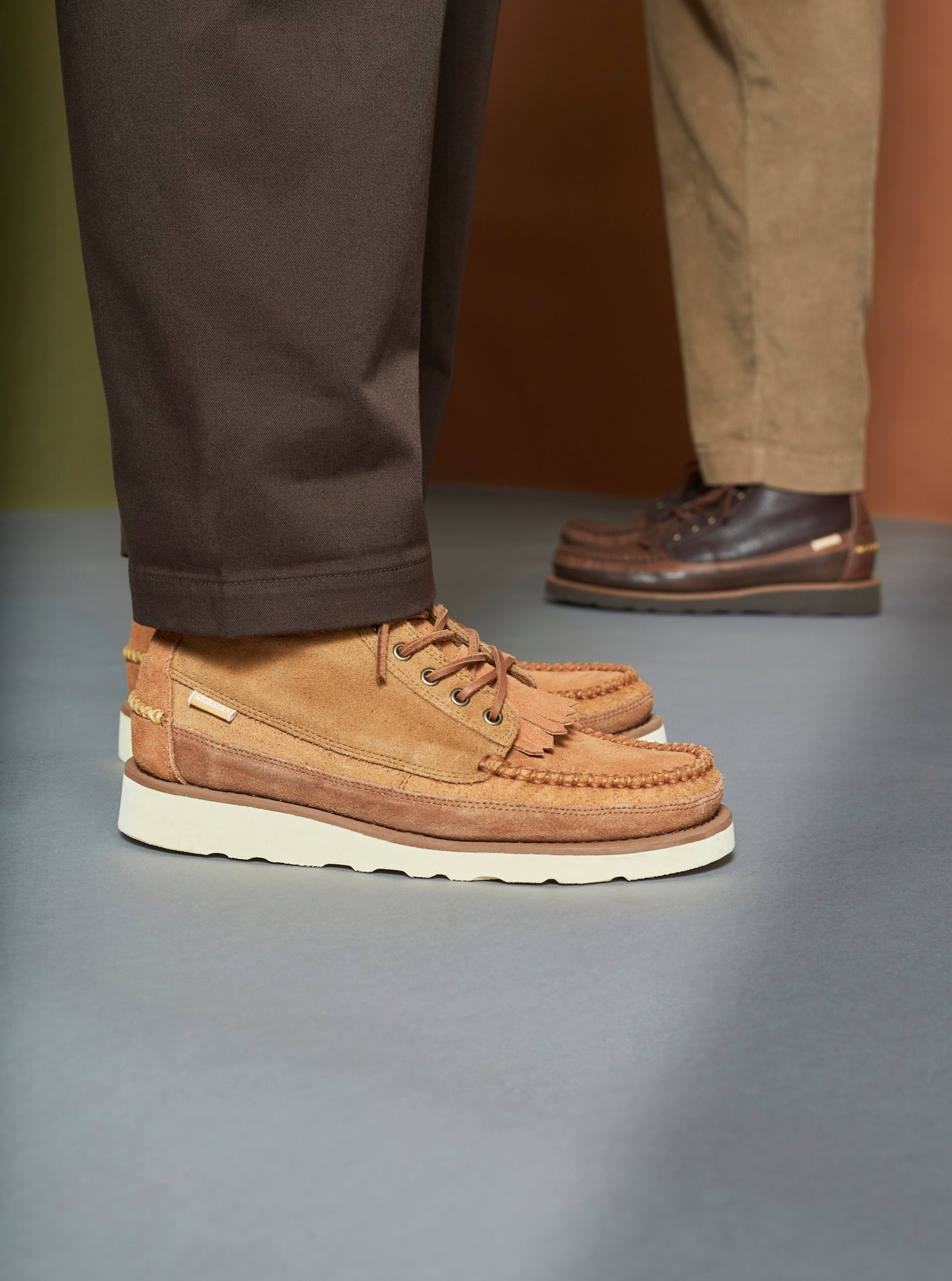 Universal Works x Sebago Cayuga Mid in Light Brown Suede