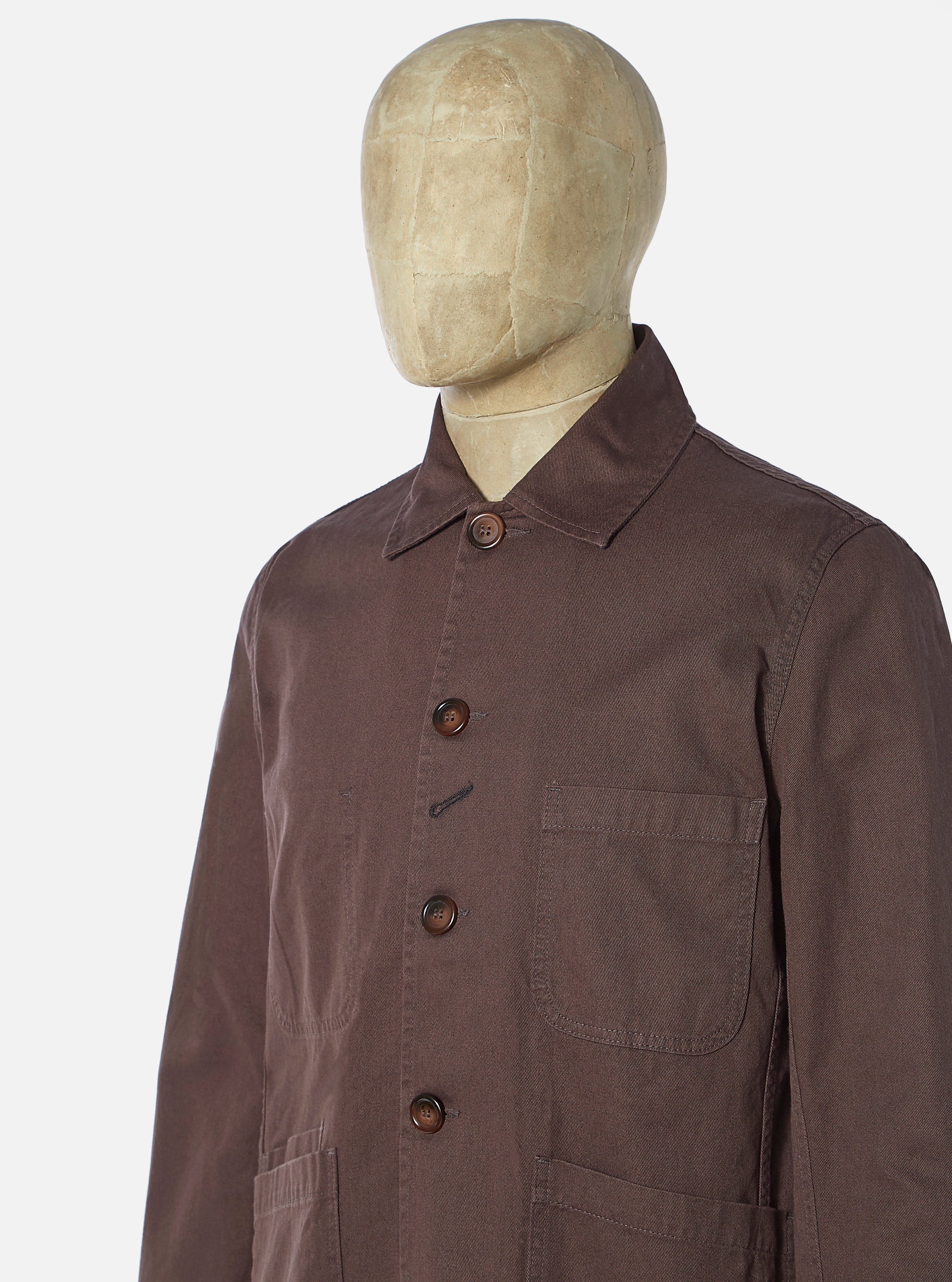 Universal Works Bakers Jacket in Brown Byron Twill