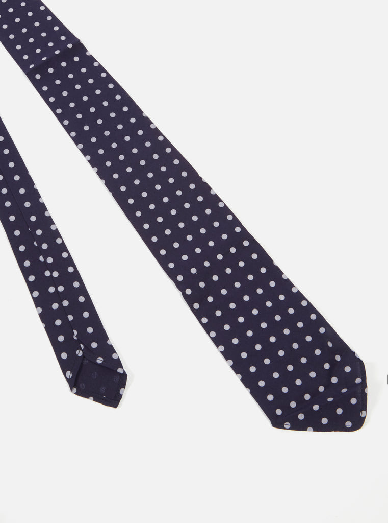 Universal Works Tie in Navy Dot Print
