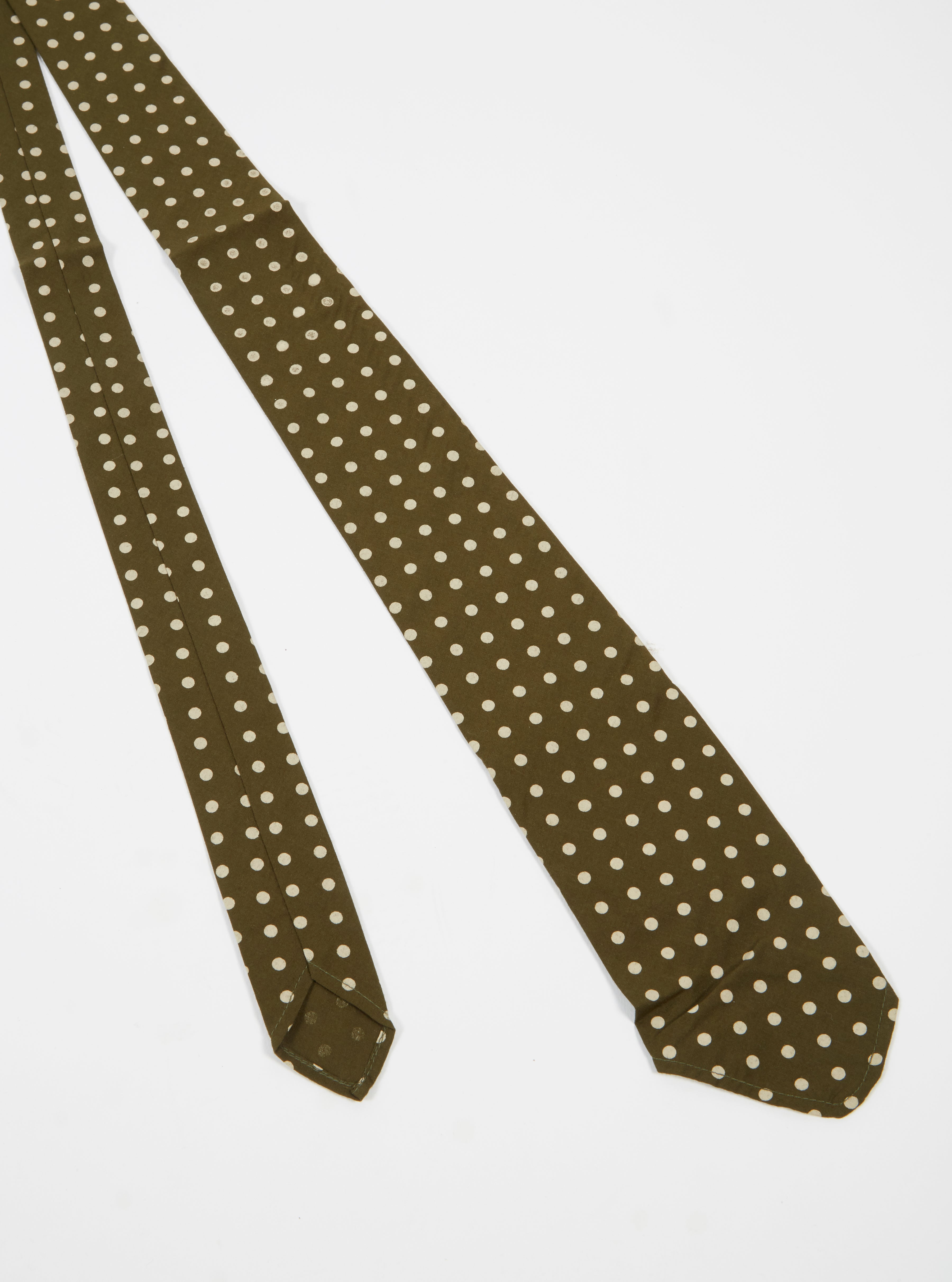 Universal Works Tie in Olive Dot Print