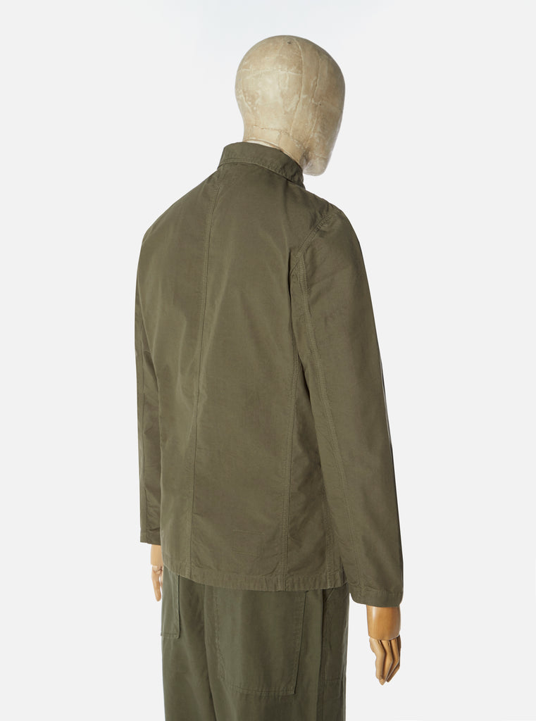 Universal Works Bakers Jacket in Olive Cotton Ripstop