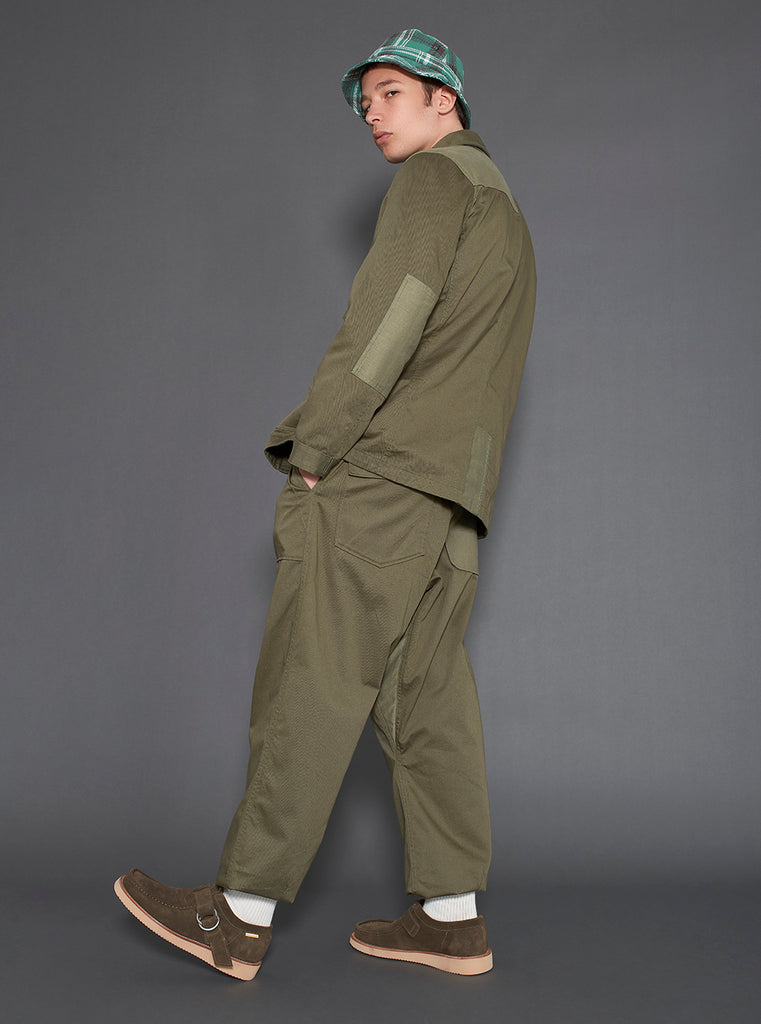 Universal Works Patched Mill Fatigue Pant in Light Olive/Olive Twill Mix