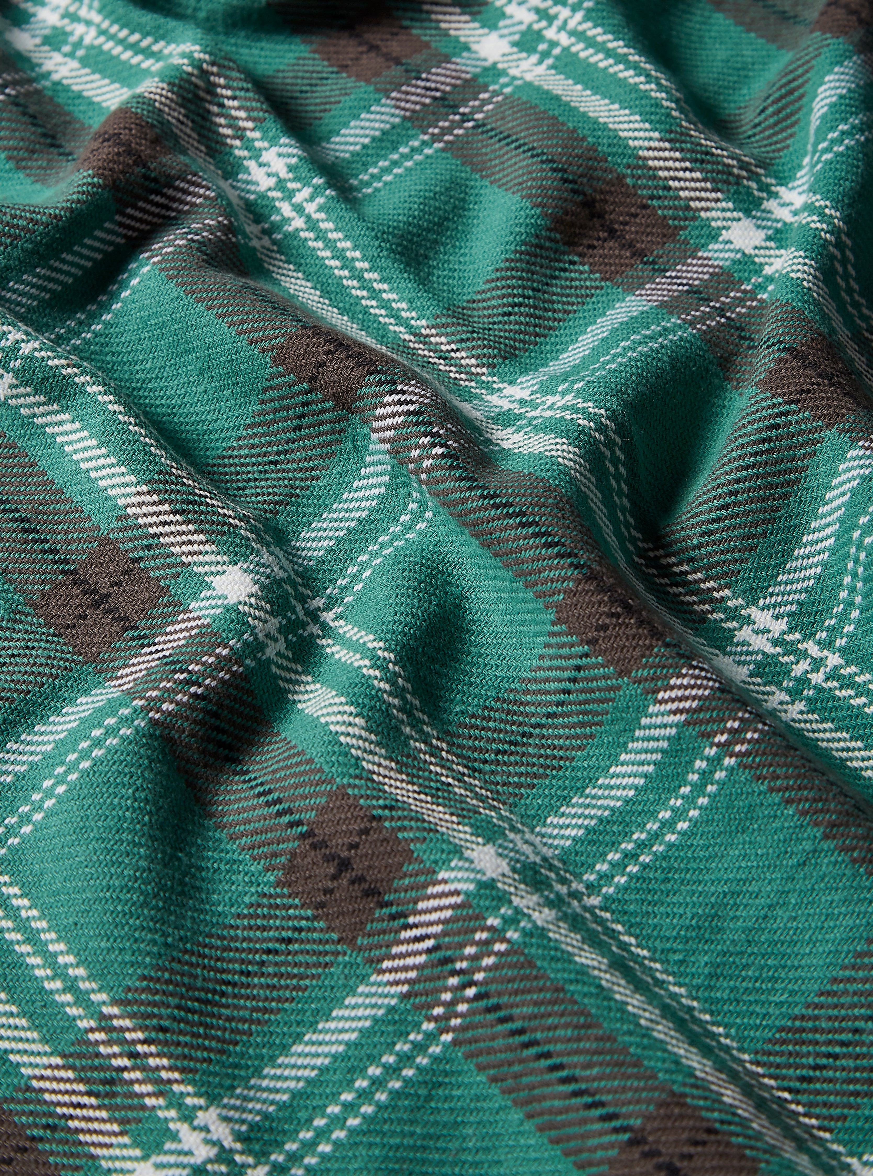 Universal Works Long Scarf in Green Heavy Check