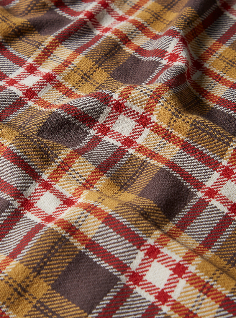 Universal Works Long Scarf in Sand/Red Heavy Check
