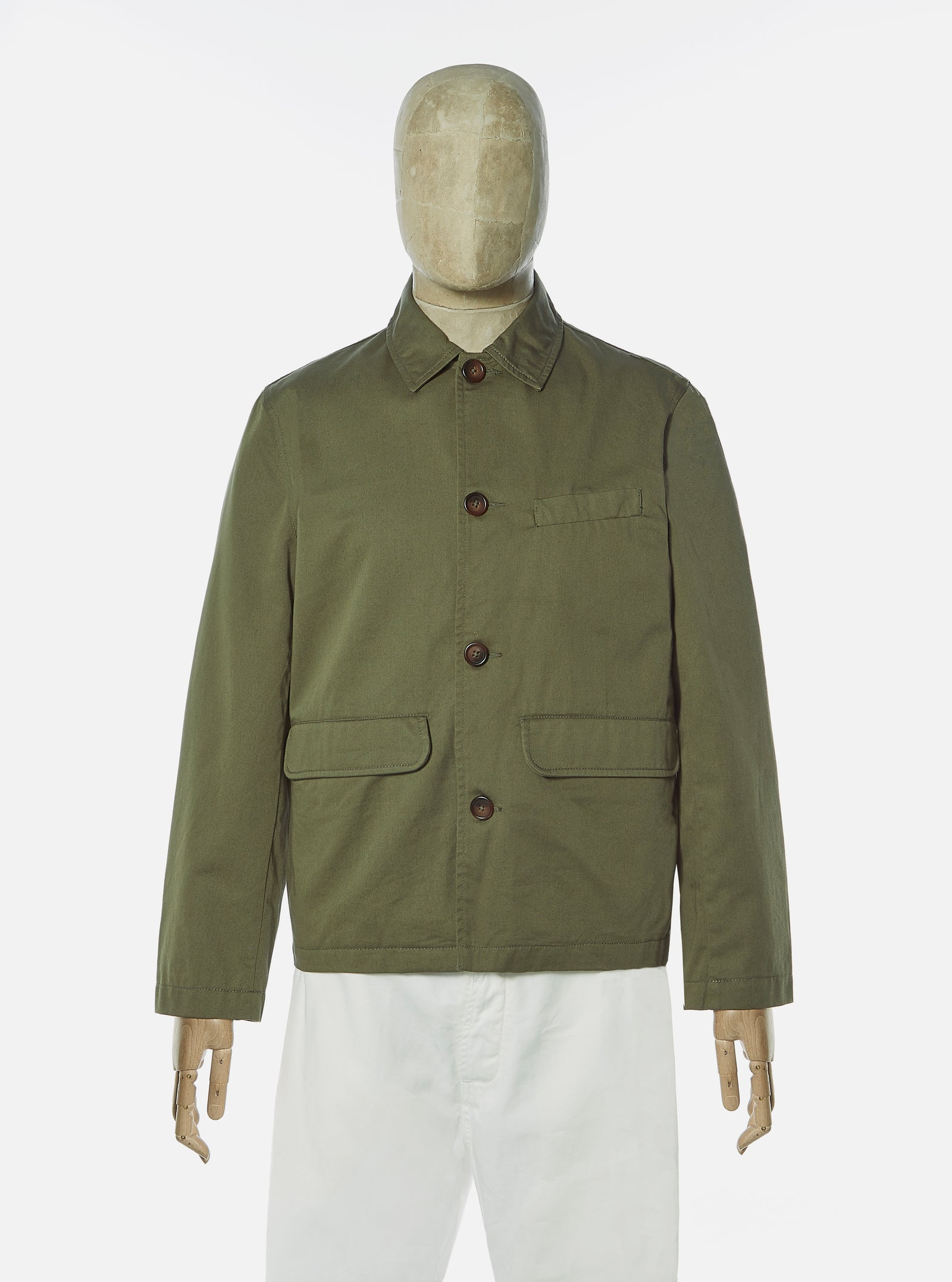 Universal Works Warmus Jacket in Light Olive Twill