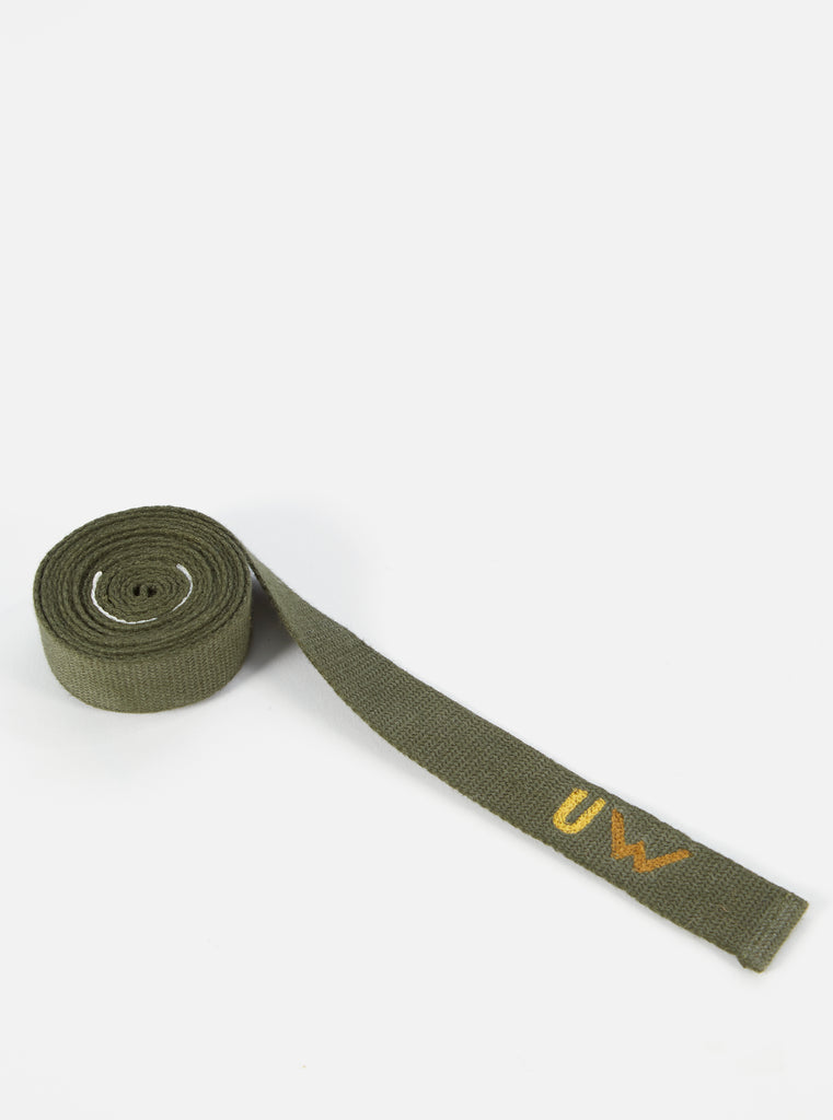 Universal Works Tie Belt in Light Olive Canvas Webbing