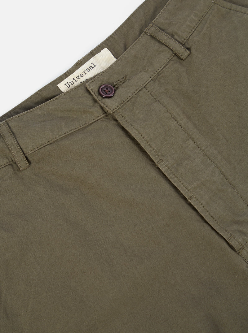 Universal Works Military Chino in Olive Cotton Ripstop