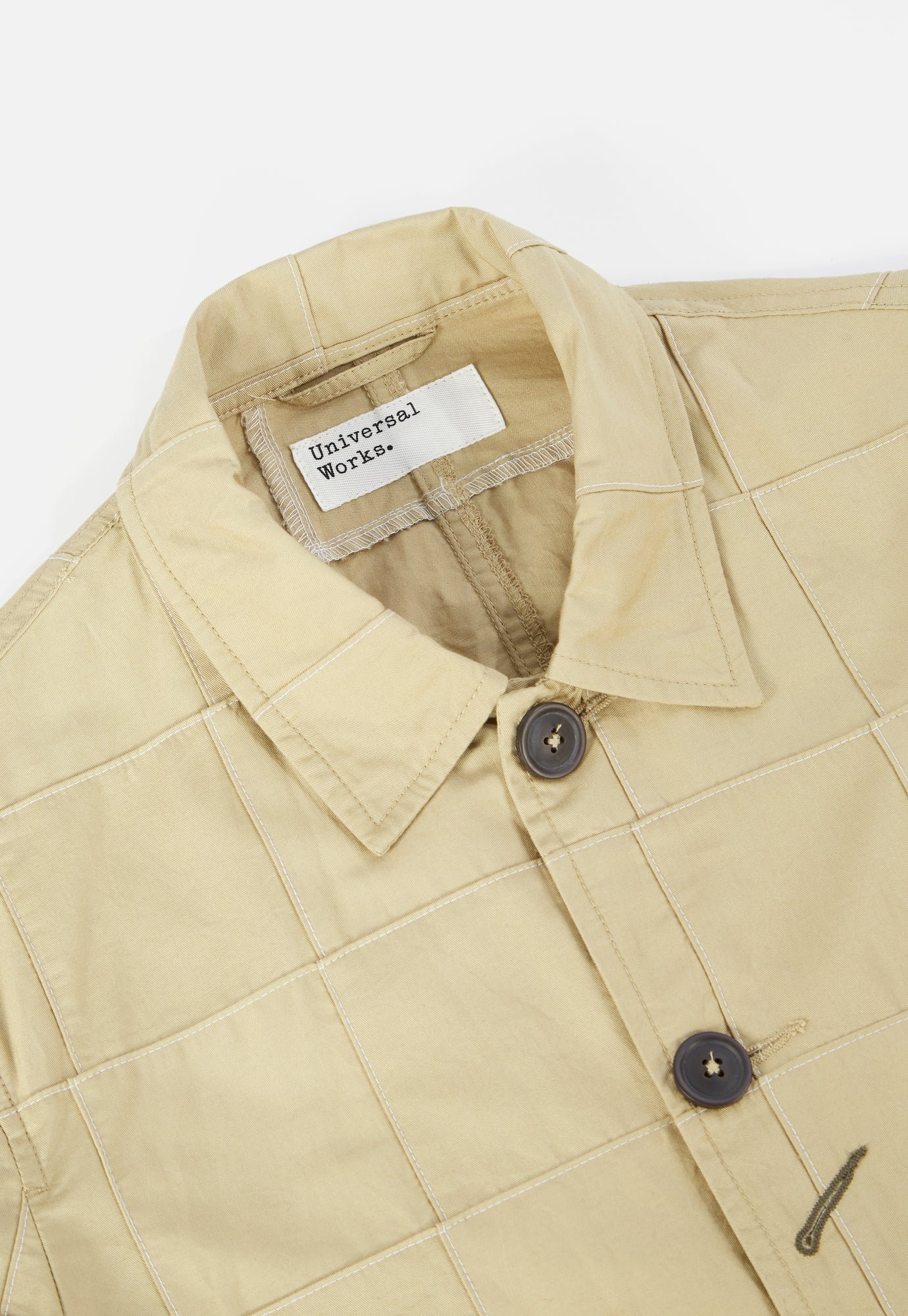 Universal Works Bakers Jacket in Tan Patchwork Fine Twill