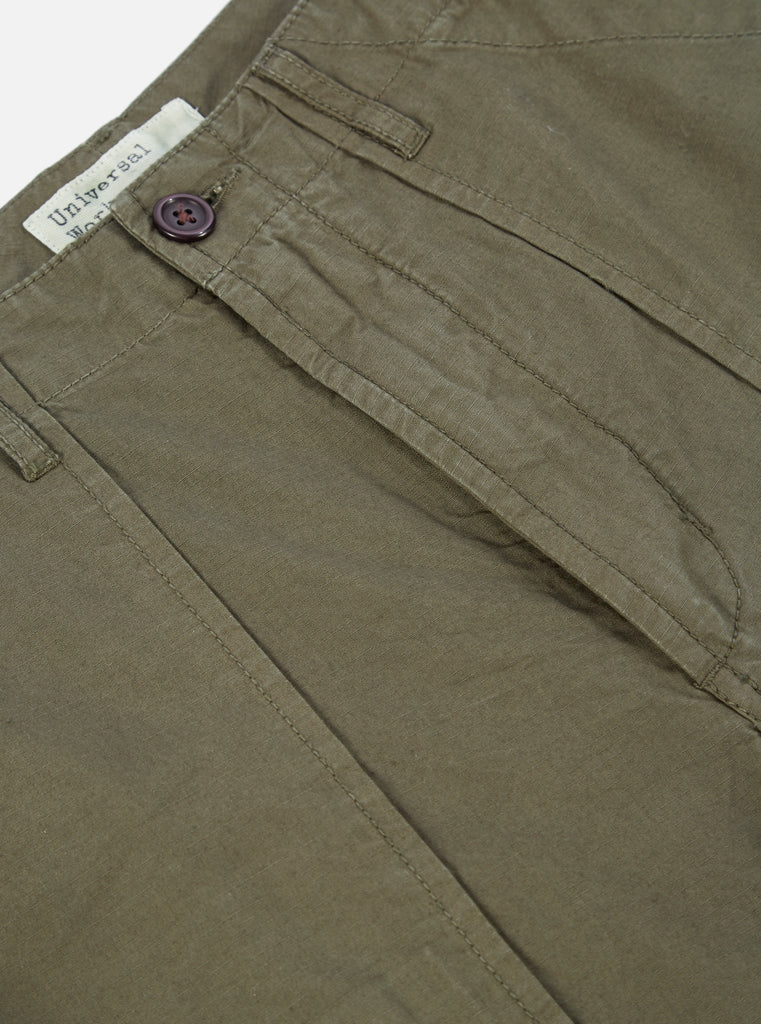 Universal Works Drop Crotch Fatigue Pant in Olive Cotton Ripstop