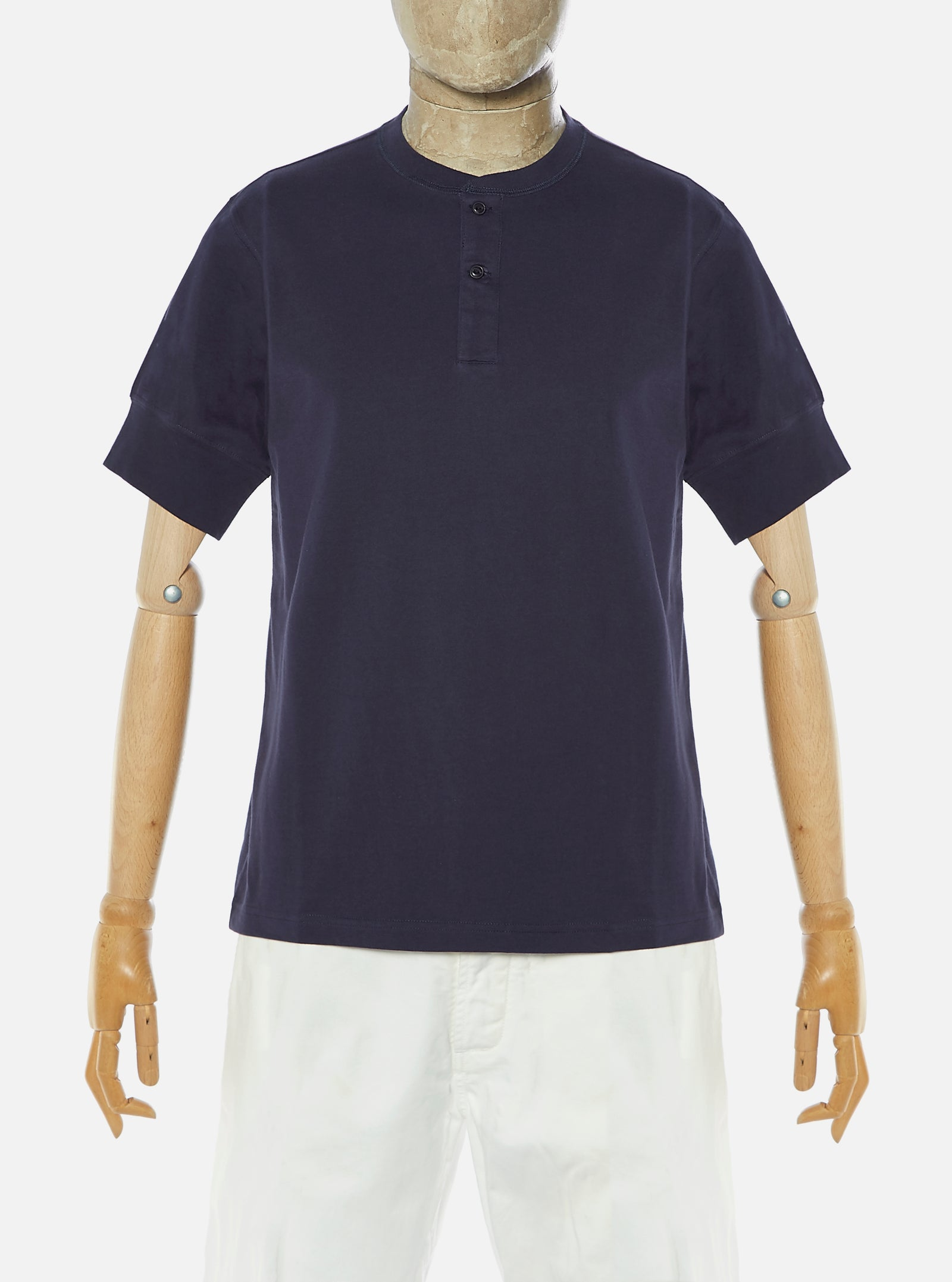 Universal Works S/S Eaton Shirt in Navy Single Jersey