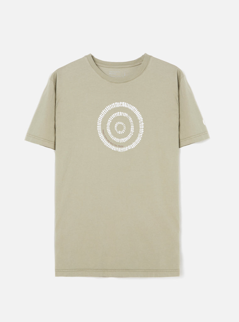 Universal Works Organic Tee in Laurel Circle Print Jersey