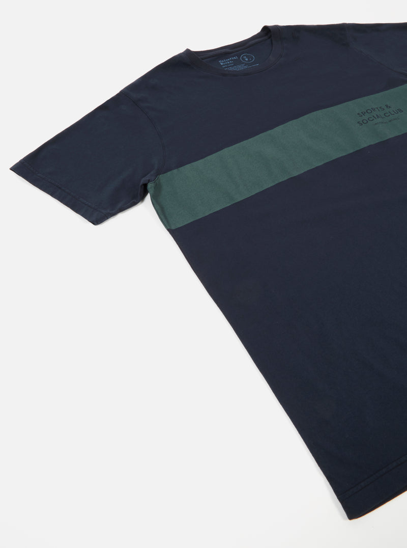 Universal Works S&SC Stripe Print Tee in Navy Single Jersey