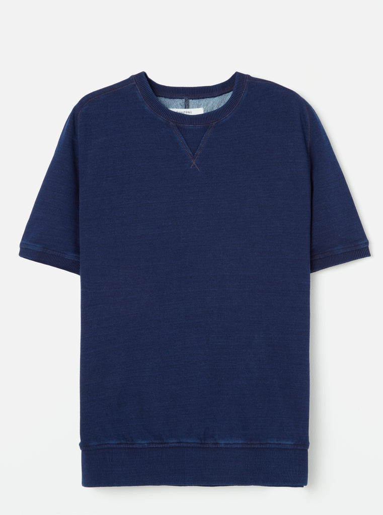 Universal Works Short Sleeve Sweat in Indigo Loopback