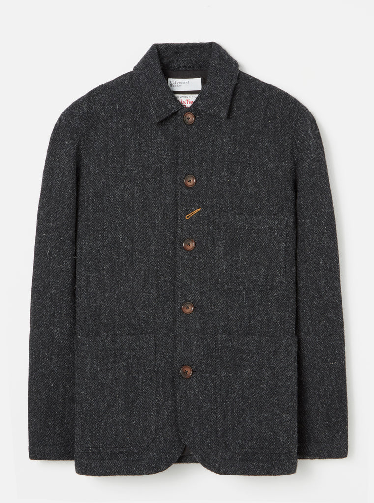 Universal Works Bakers Chore Jacket in Charcoal Harris Tweed