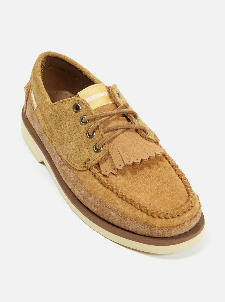 Universal Works x Sebago 'Campsides' Seneca in Pluri Light Brown Suede