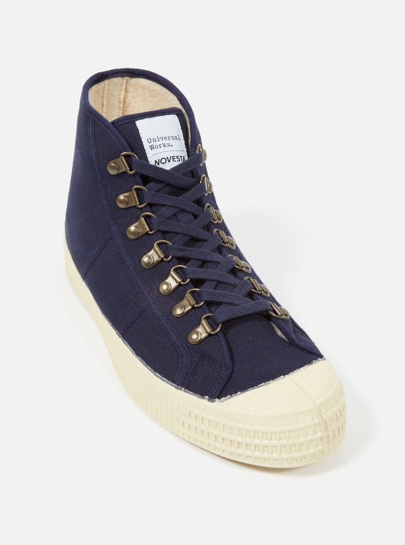 Universal Works x Novesta Star Dribble in Navy Fleece Lined Canvas