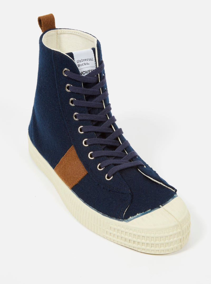 Universal Works x Novesta Star Hike in Navy Stripe Wool