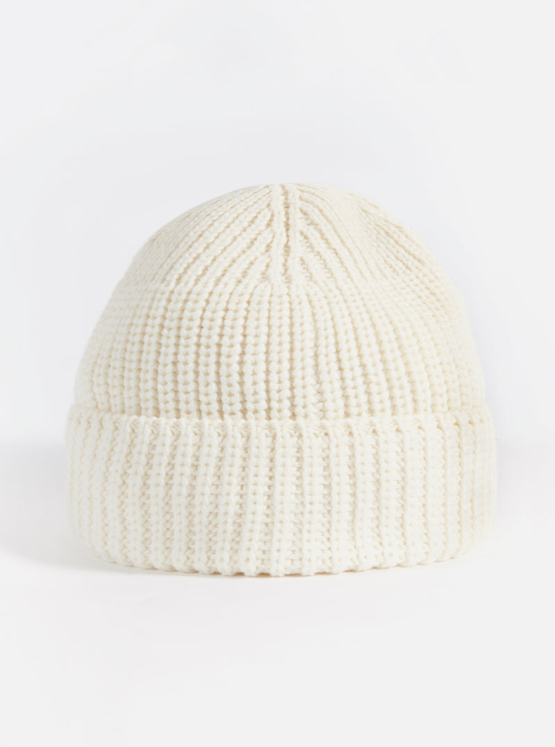 Universal Works Watch Cap in Ecru Merino Cardigan