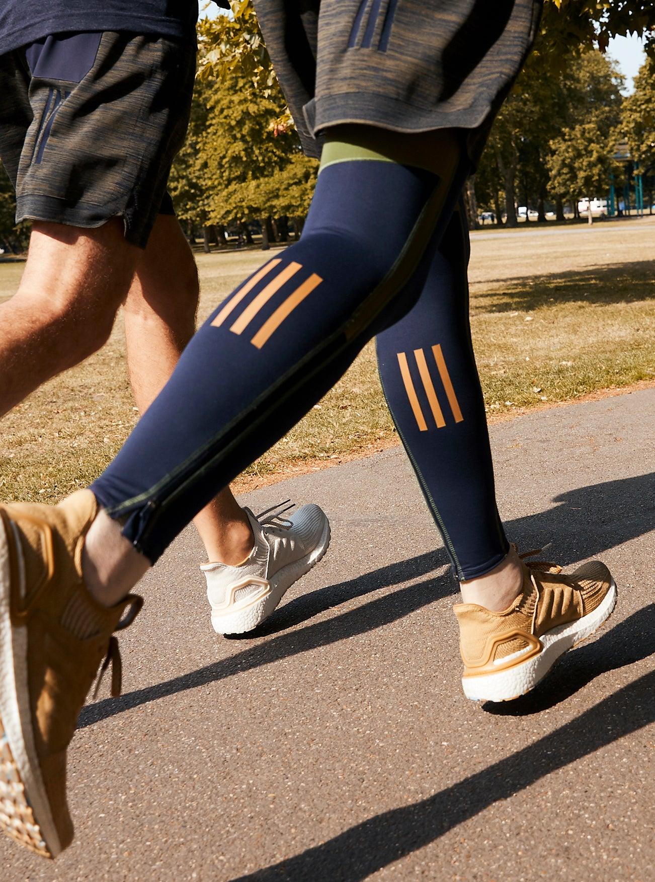 Adidas x Universal Works Running Tights in Navy/Olive