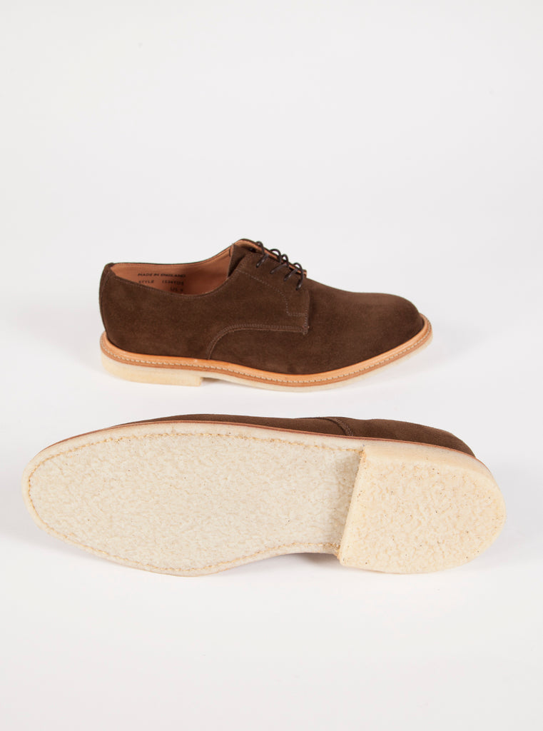 Universal Works x Sanders Plain Gibson in Chocolate Suede
