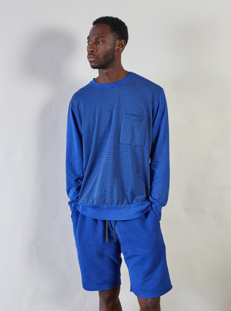 The Pilgrm x Universal Works College Loose Pullover in Dazzling Blue Single Jersey