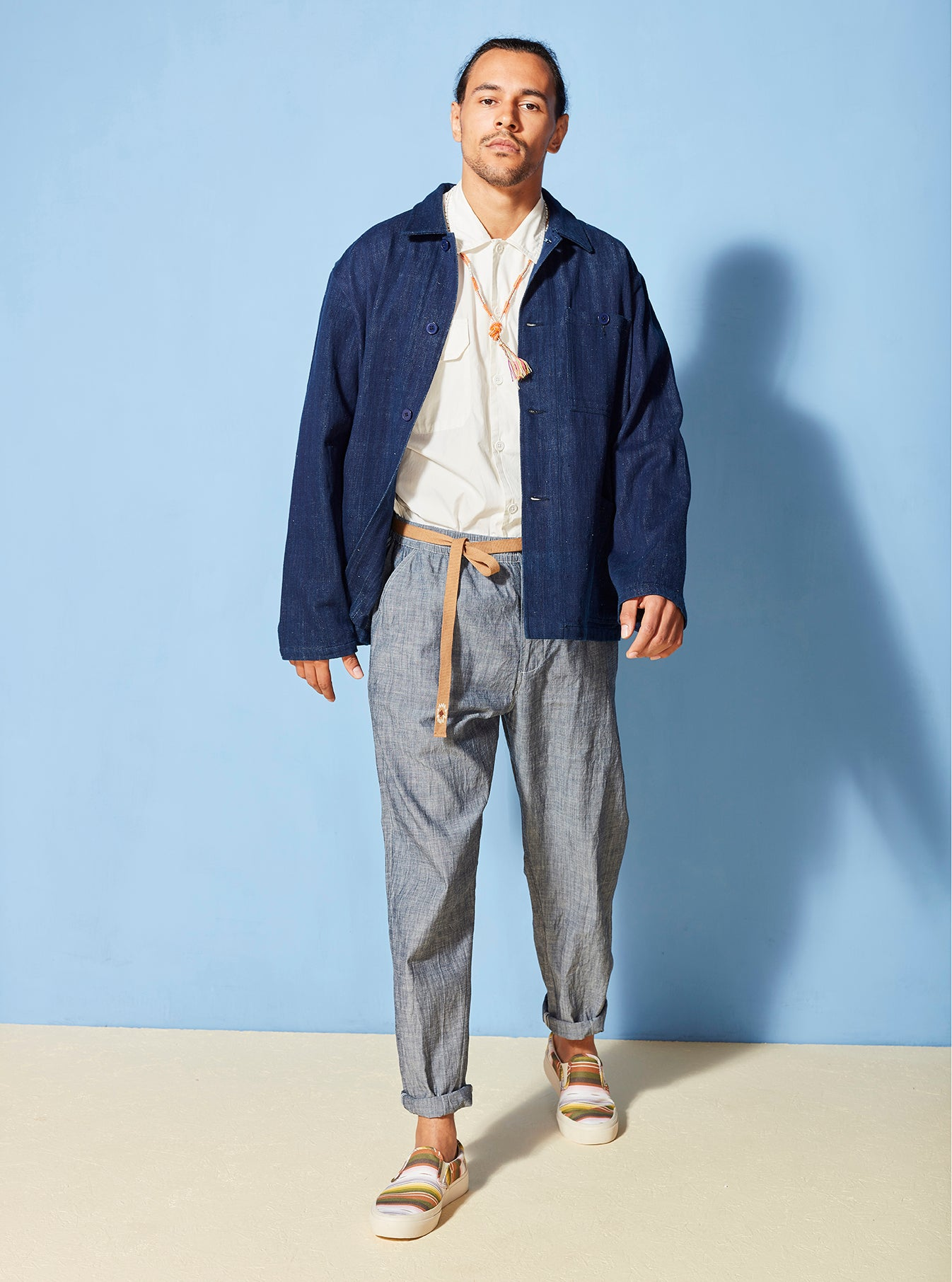 Universal Works Track Trouser in Indigo Chambray