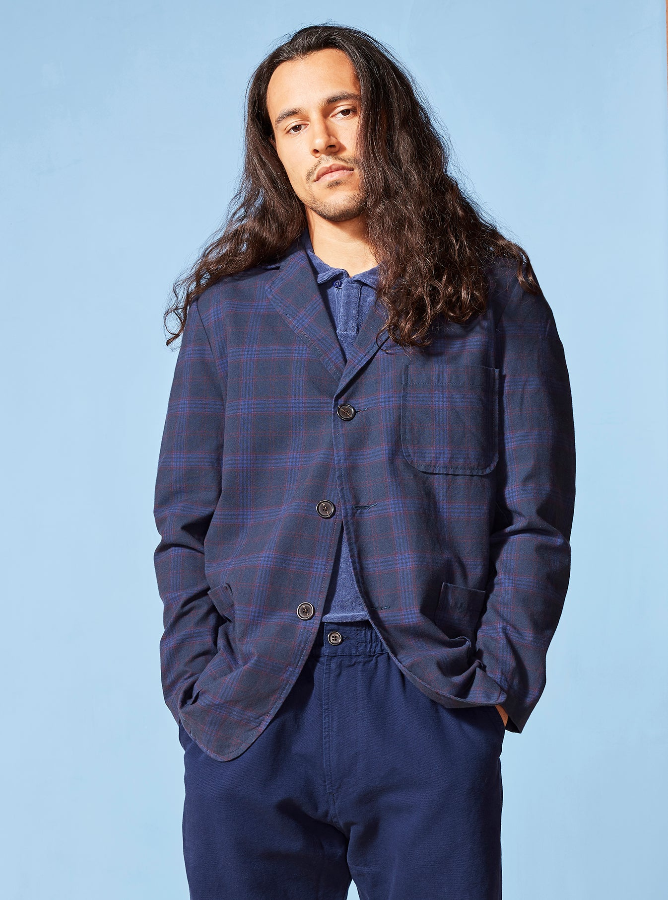 Universal Works Three Button Jacket in Navy Cotton Check Suiting