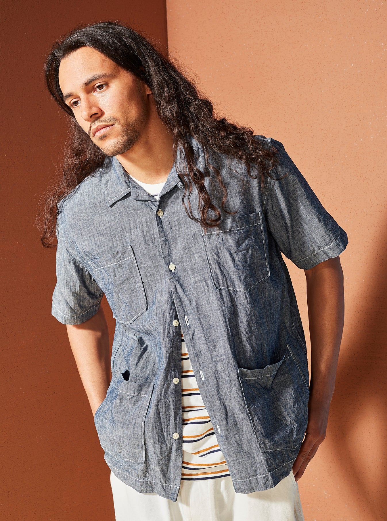 Universal Works Summer Overshirt in Indigo Chambray