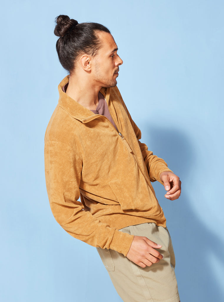 Universal Works Beach Zip Through in Cumin Terry Fleece