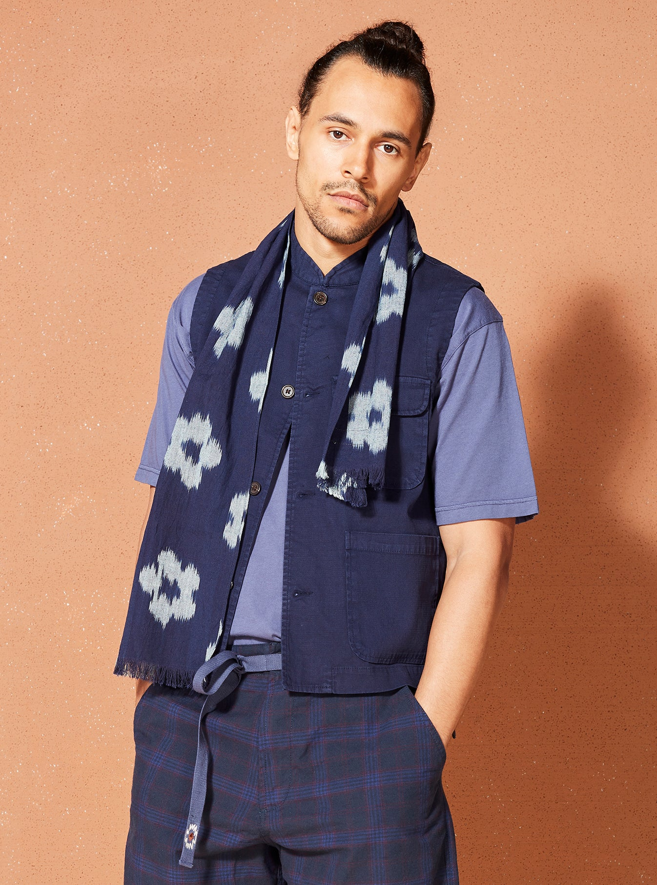 Universal Works Battleman Waistcoat in Navy Fine Weave Cotton
