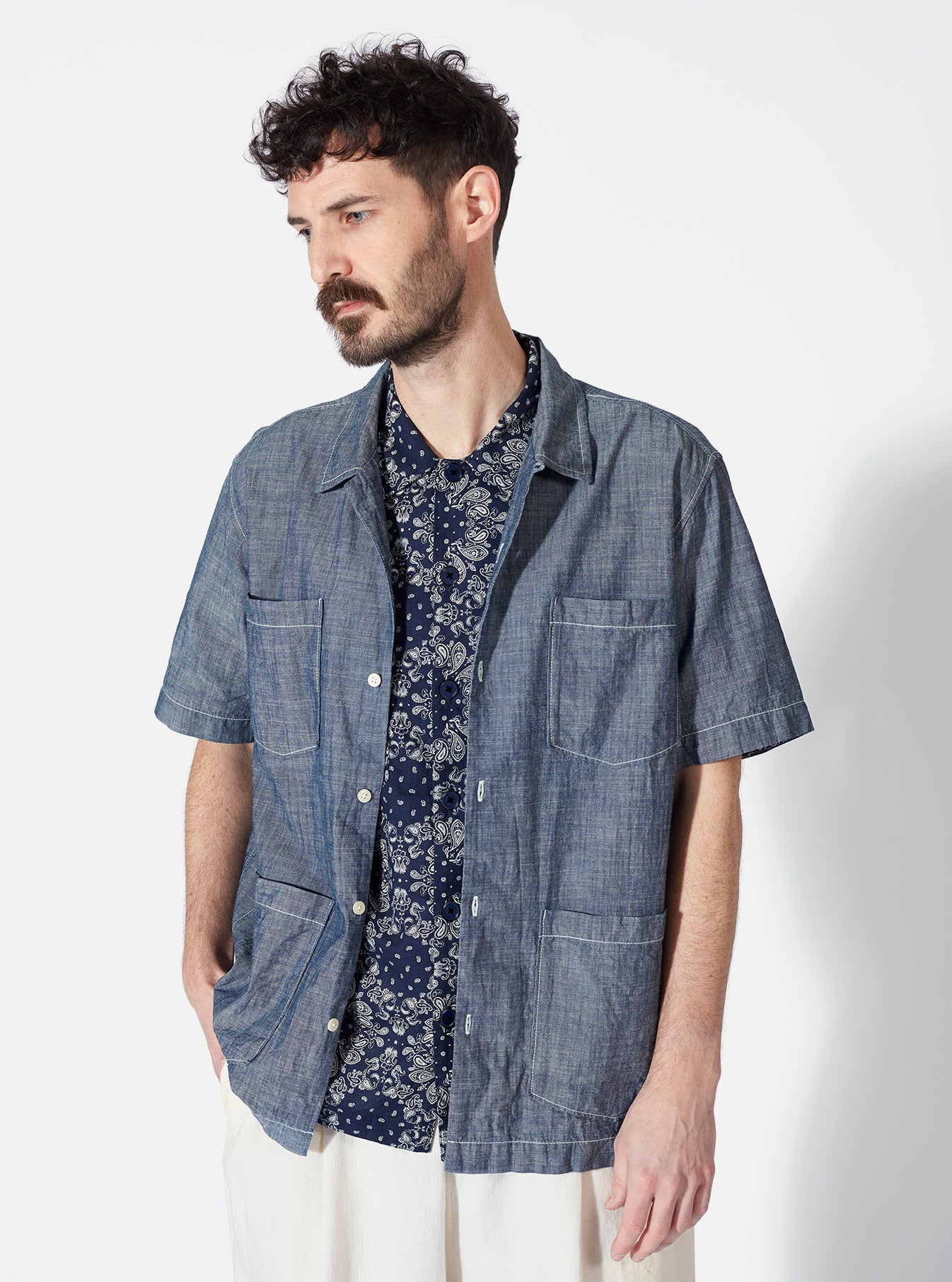 Universal Works Utility SS Shirt in Navy Bandana Cotton