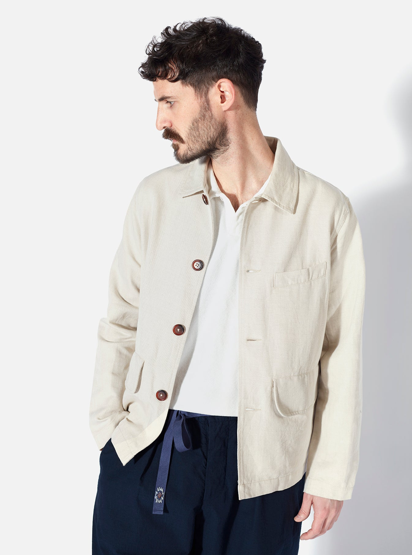 Universal Works Warmus II Jacket in Ecru Linen Twill Mix