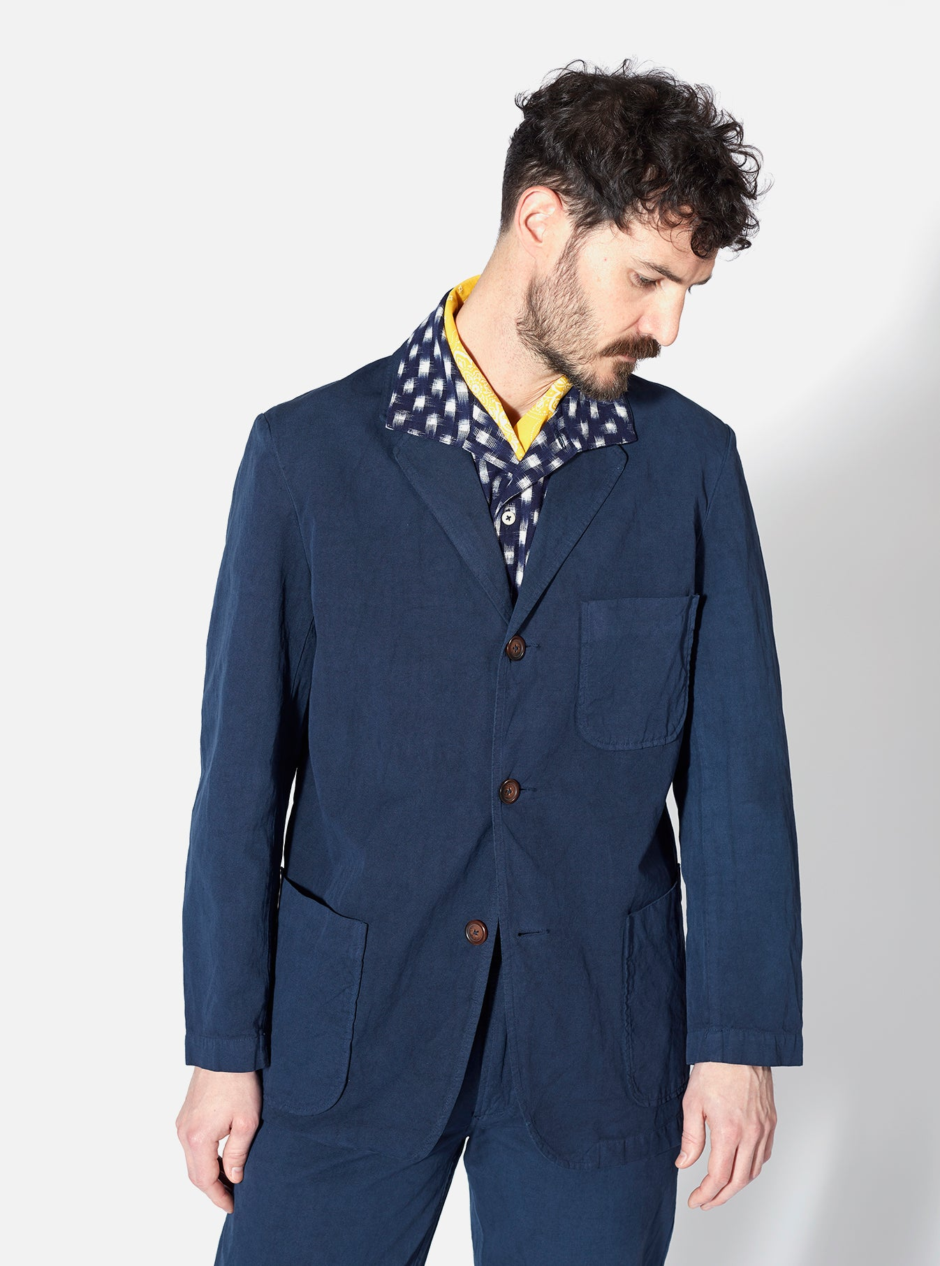 Universal Works Three Button Jacket in Navy Linen Cotton