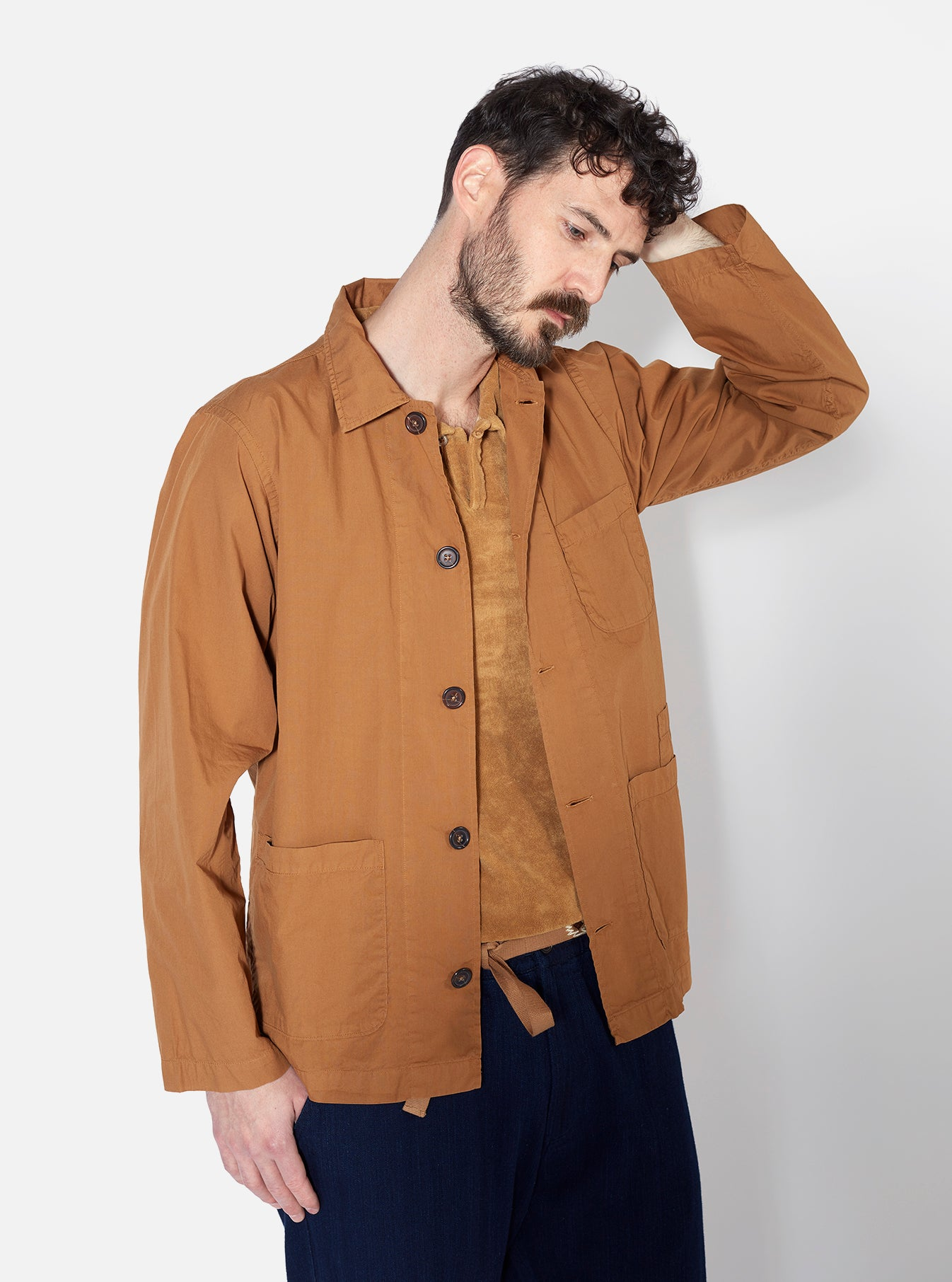 Universal Works Bakers Overshirt in Cumin Poplin