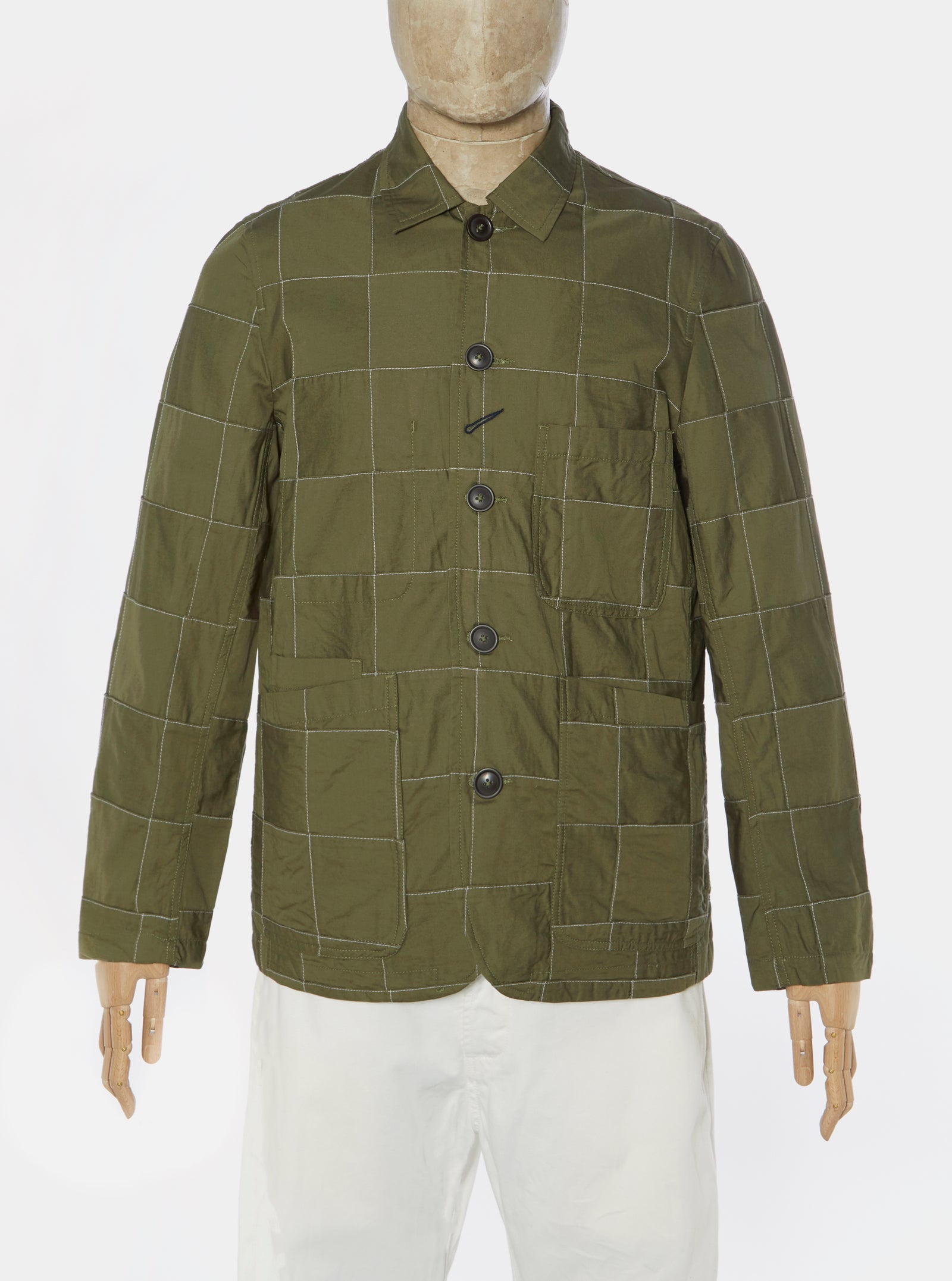 Universal Works Bakers Jacket in Olive Patchwork Fine Twill