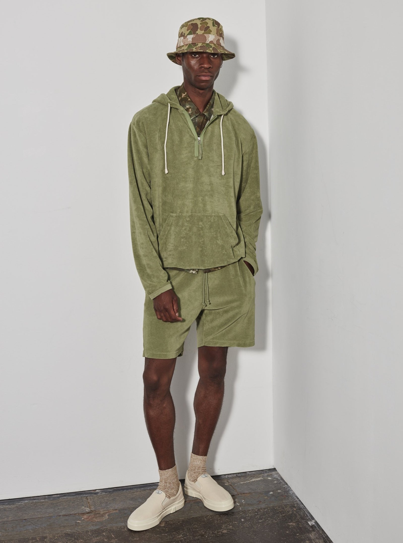 Universal Works Beach Short in Olive Terry Fleece