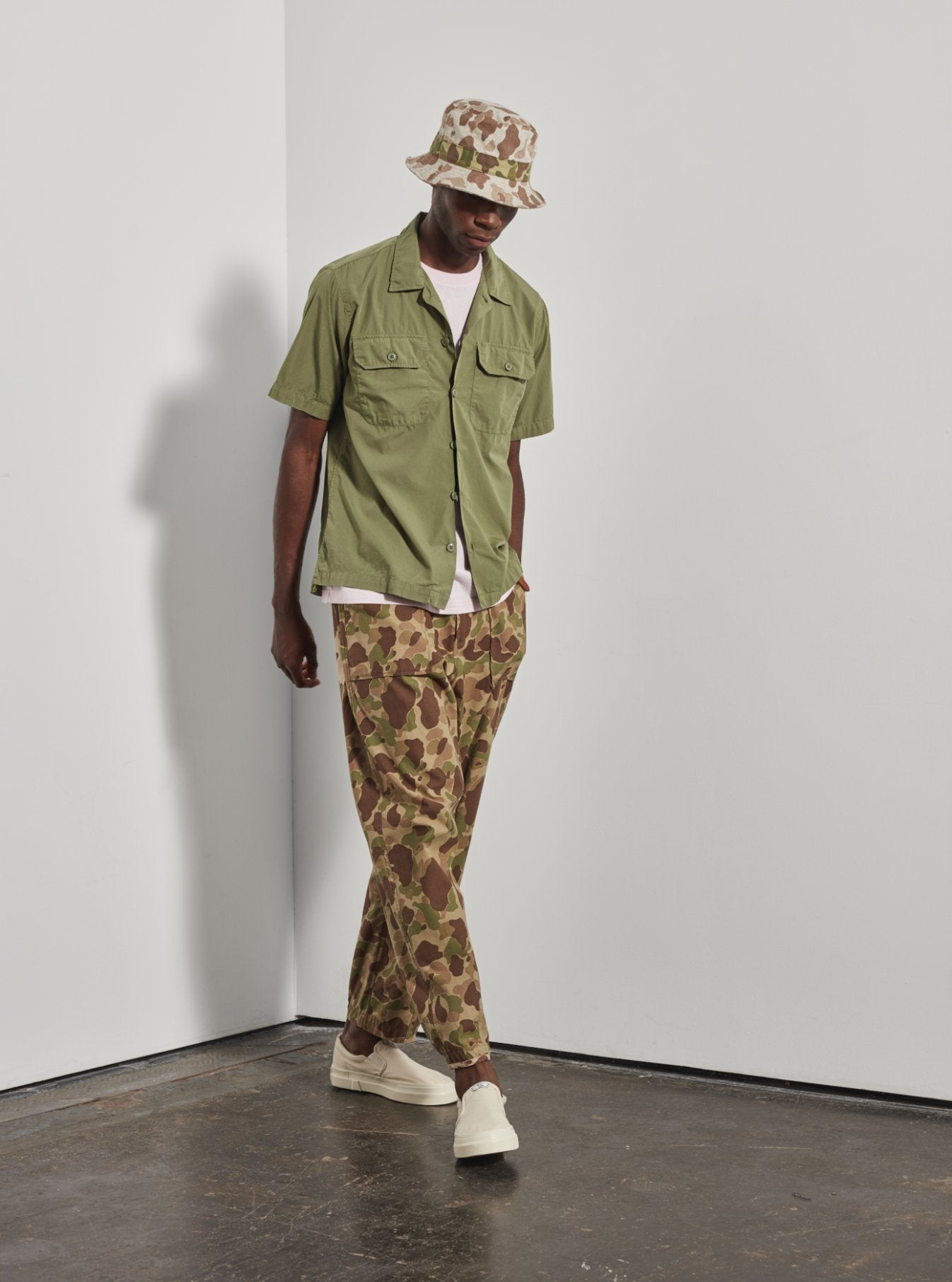 Universal Works Patched Mill Fatigue Pant in Olive/Sand Peacekeeper Camo