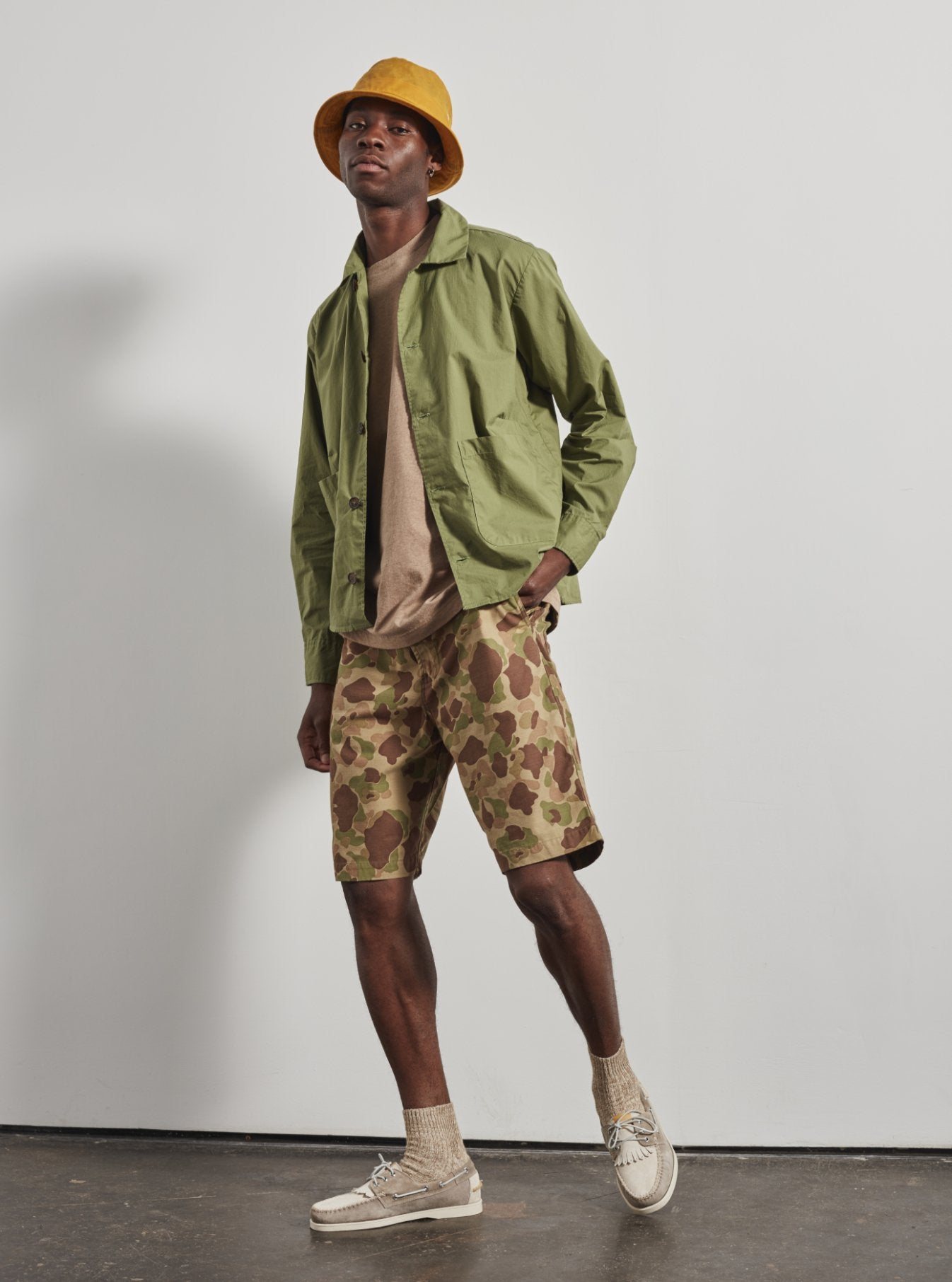Universal Works Travail Shirt in Olive WR Ripstop Cotton