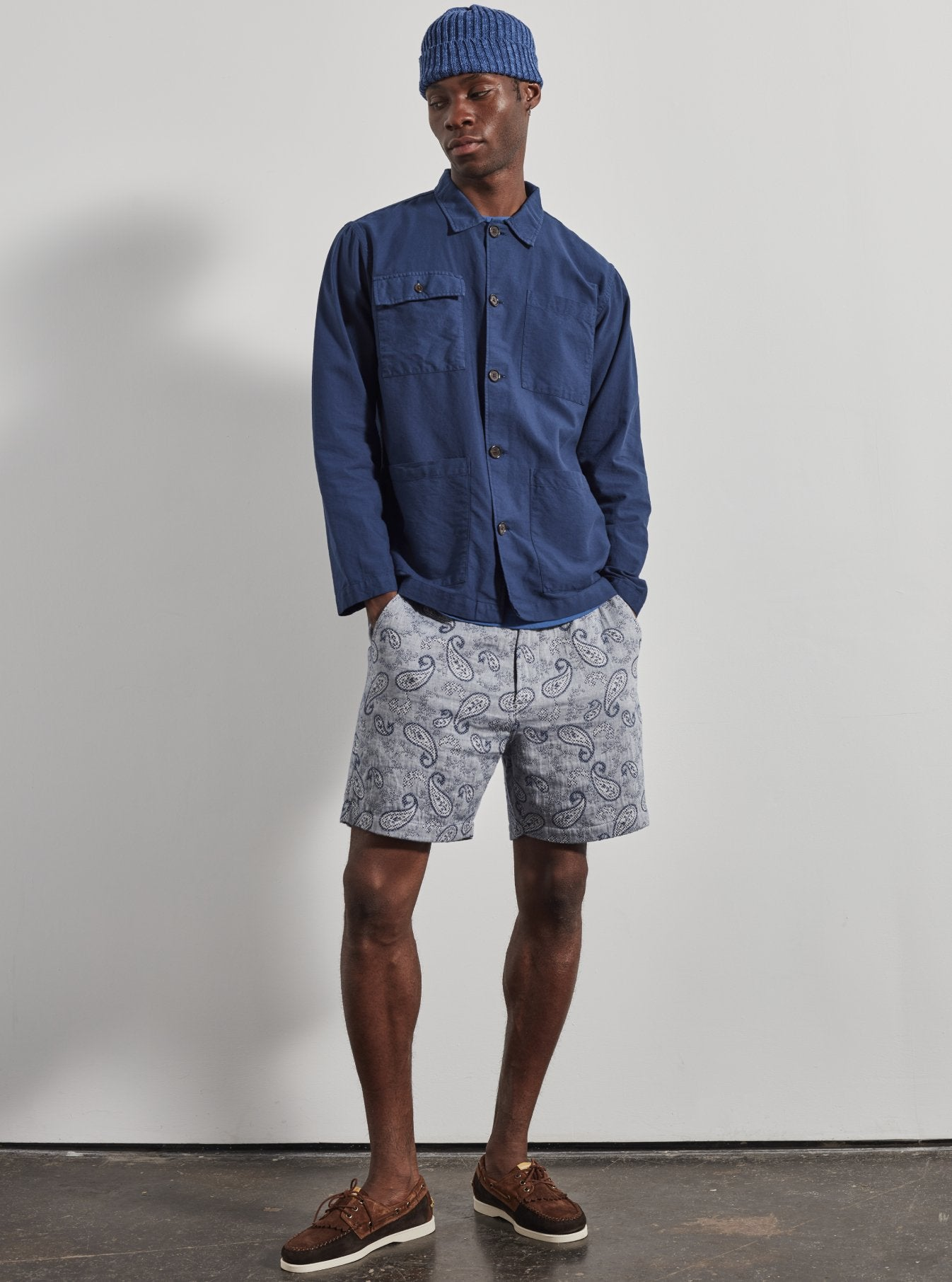 Universal Works Track Short in Indigo Paisley Weave