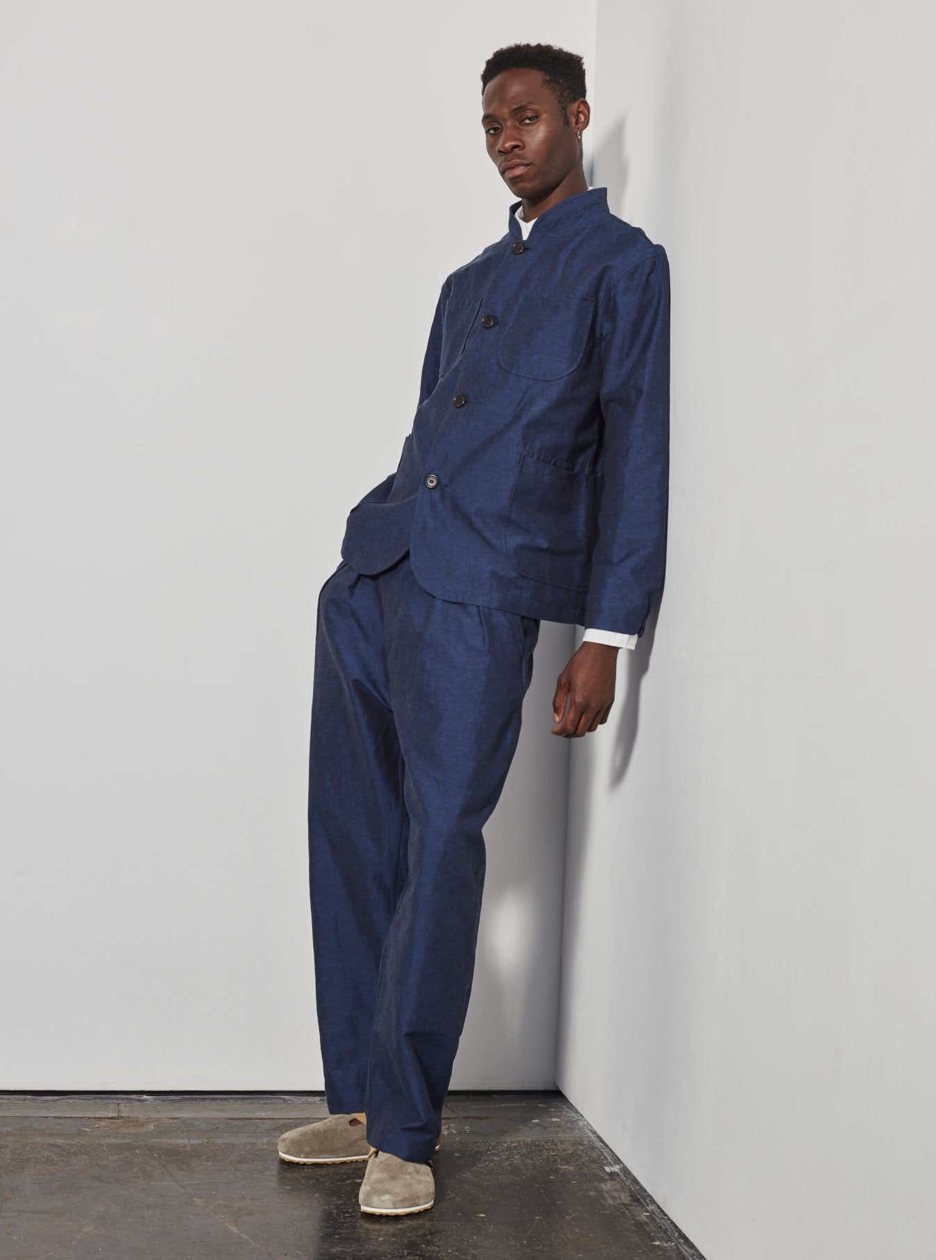 Universal Works Double Pleat Pant in Blue Linen Mix Suiting
