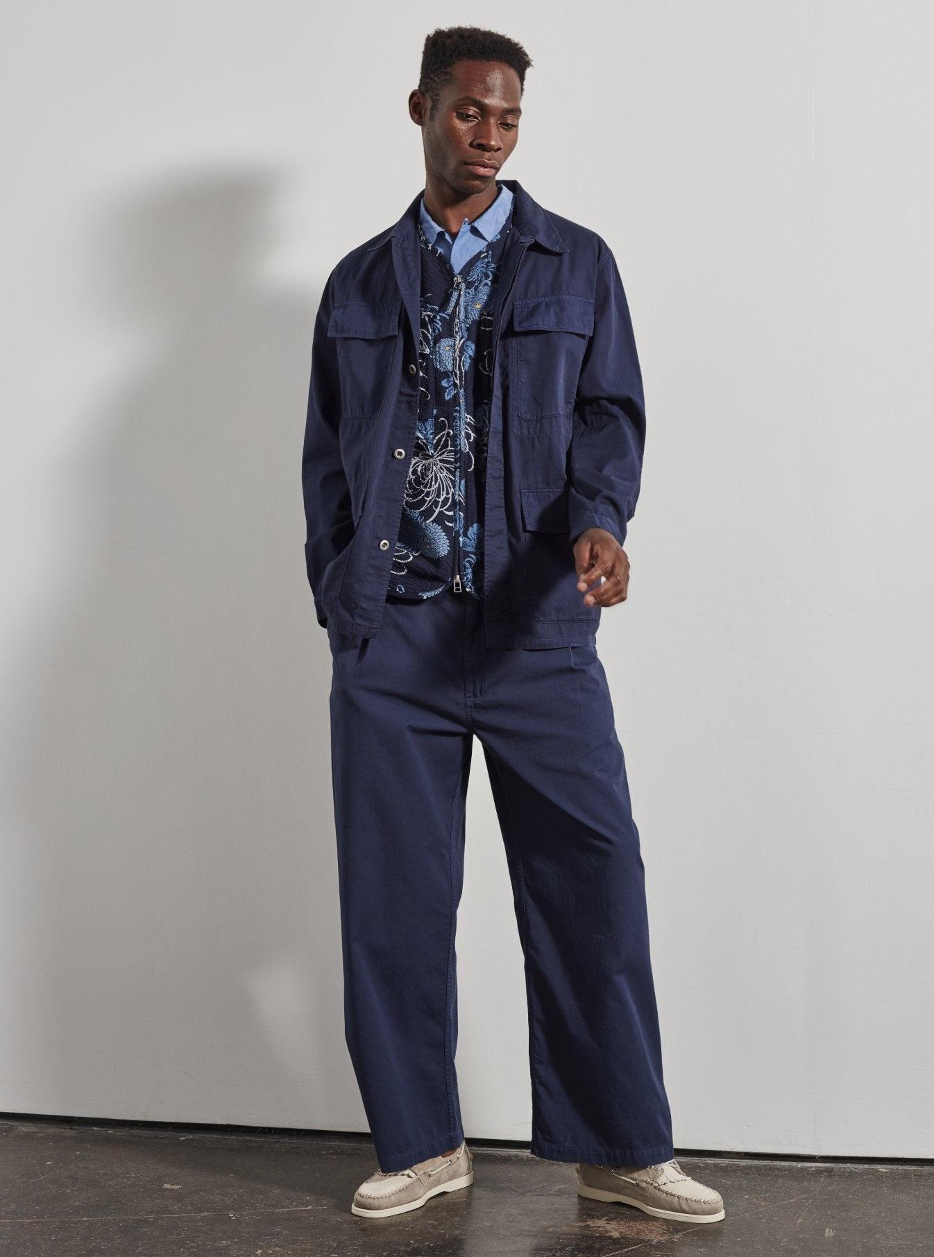 Universal Works MW Fatigue Jacket in Navy Fine Twill